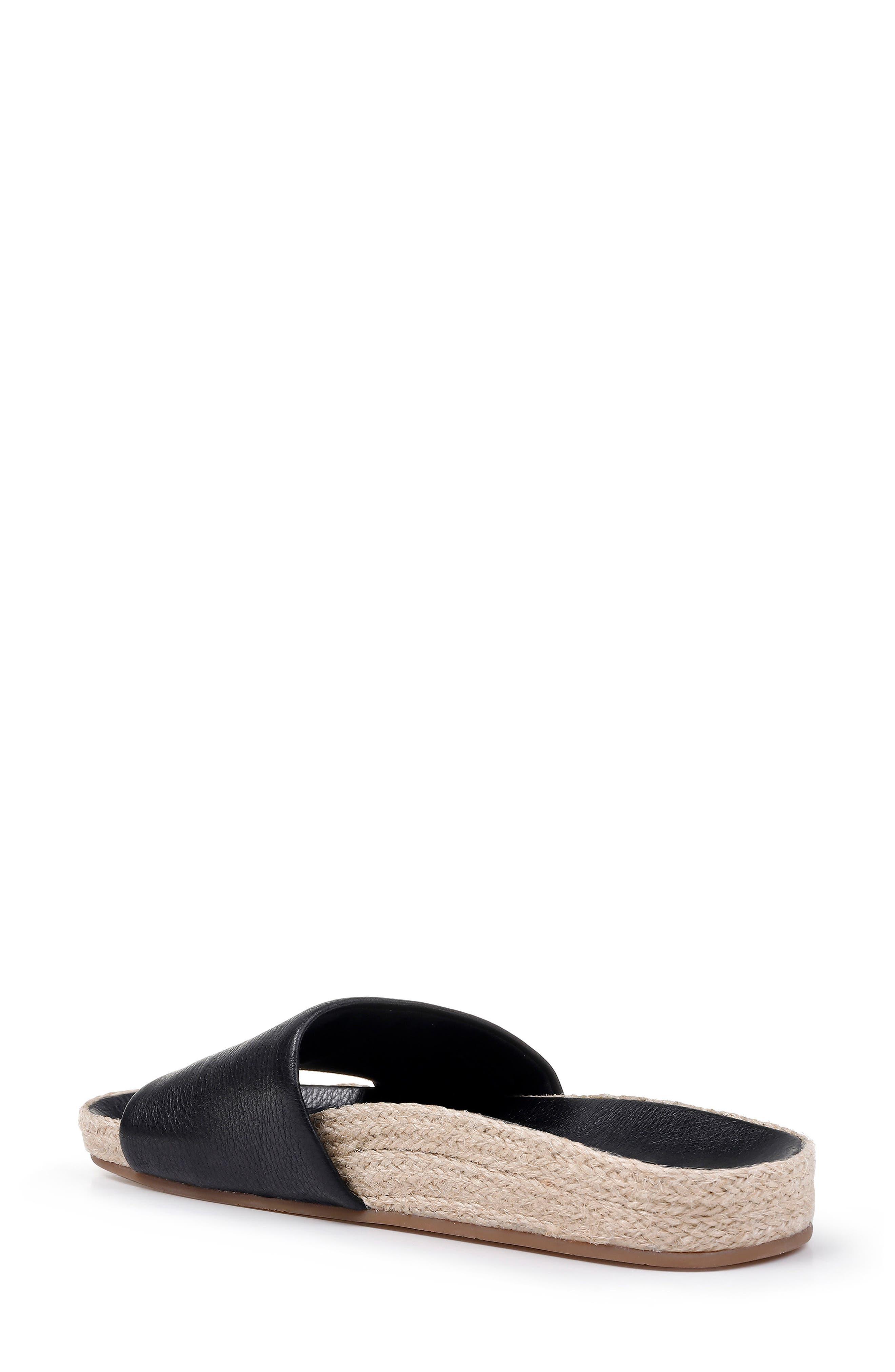 SPLENDID, Sandford Espadrille Slide Sandal, Alternate thumbnail 2, color, BLACK LEATHER