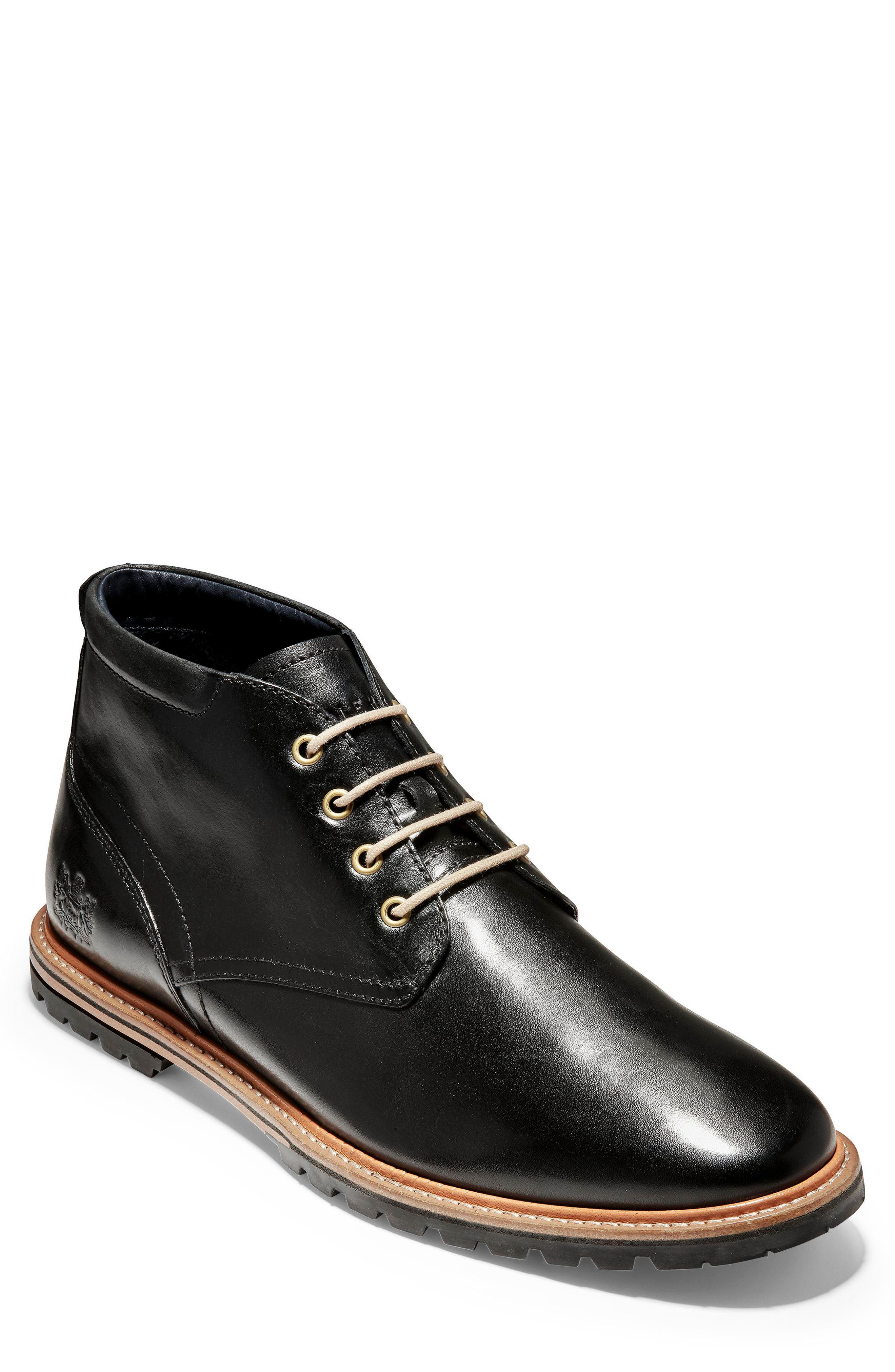 COLE HAAN Raymond Grand Chukka Boot, Main, color, BLACK LEATHER