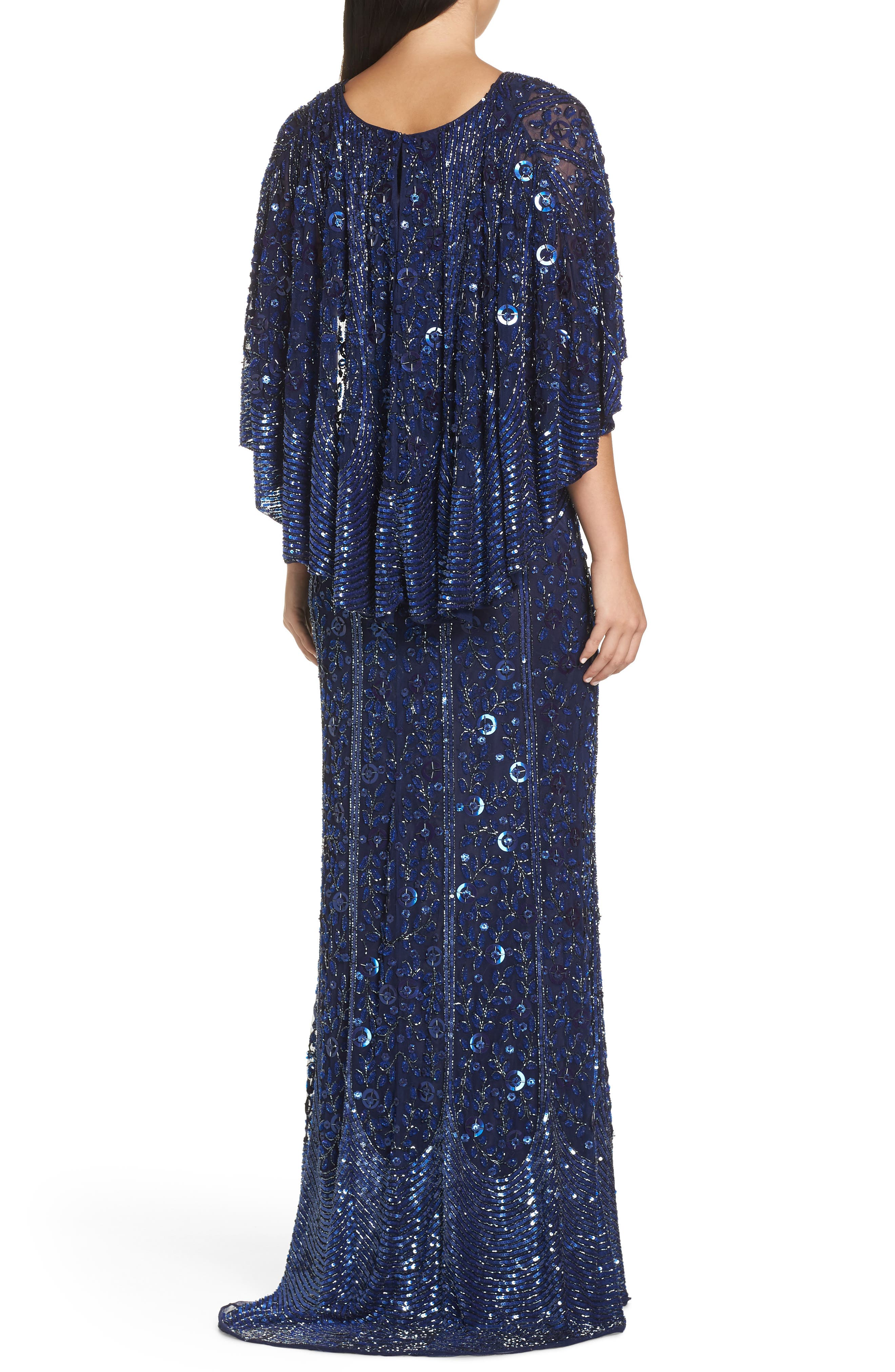 MAC DUGGAL, Sequin Cape Sleeve Evening Dress, Alternate thumbnail 2, color, MIDNIGHT