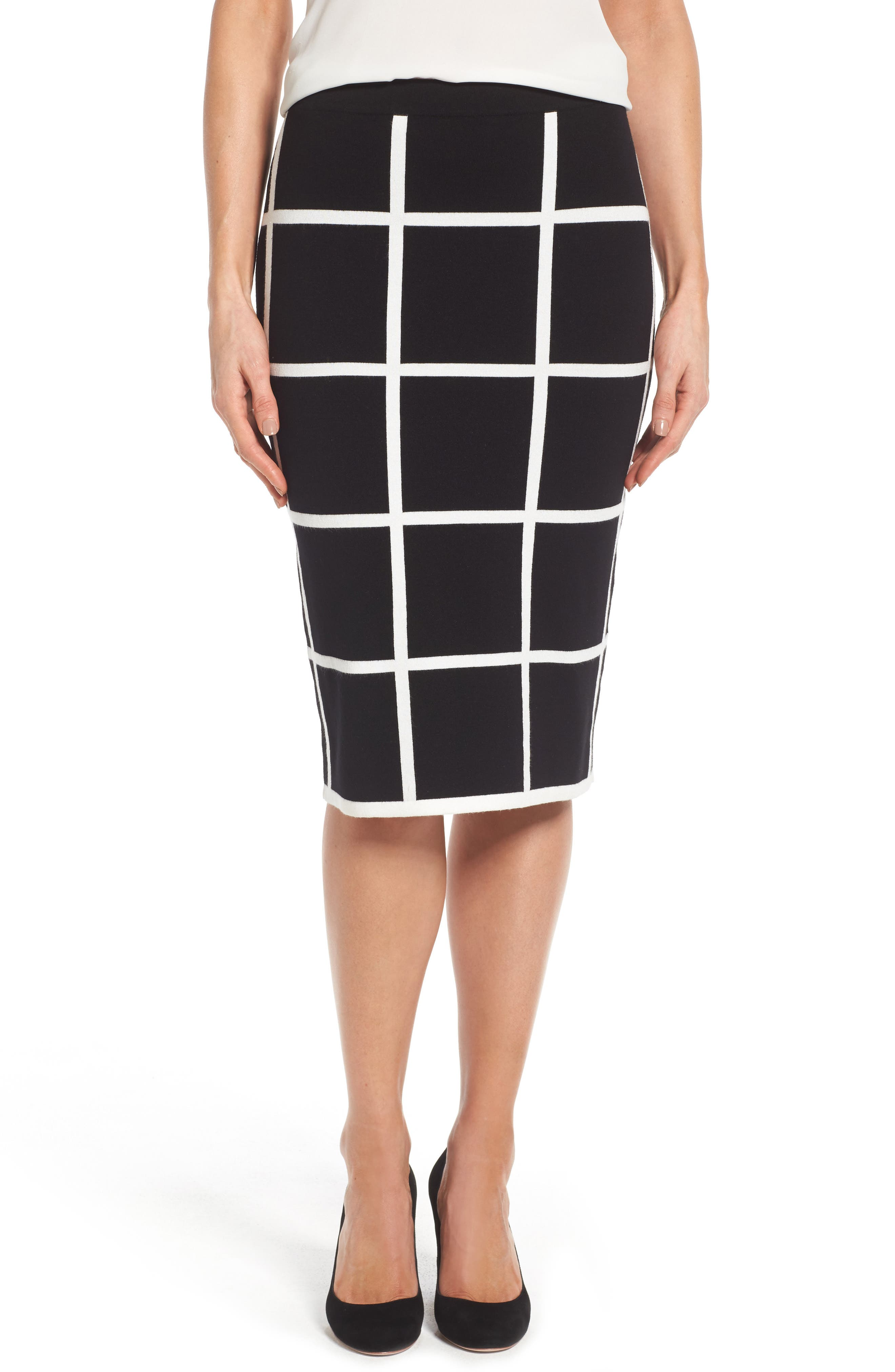 VINCE CAMUTO, Windowpane Sweater Knit Skirt, Main thumbnail 1, color, 006