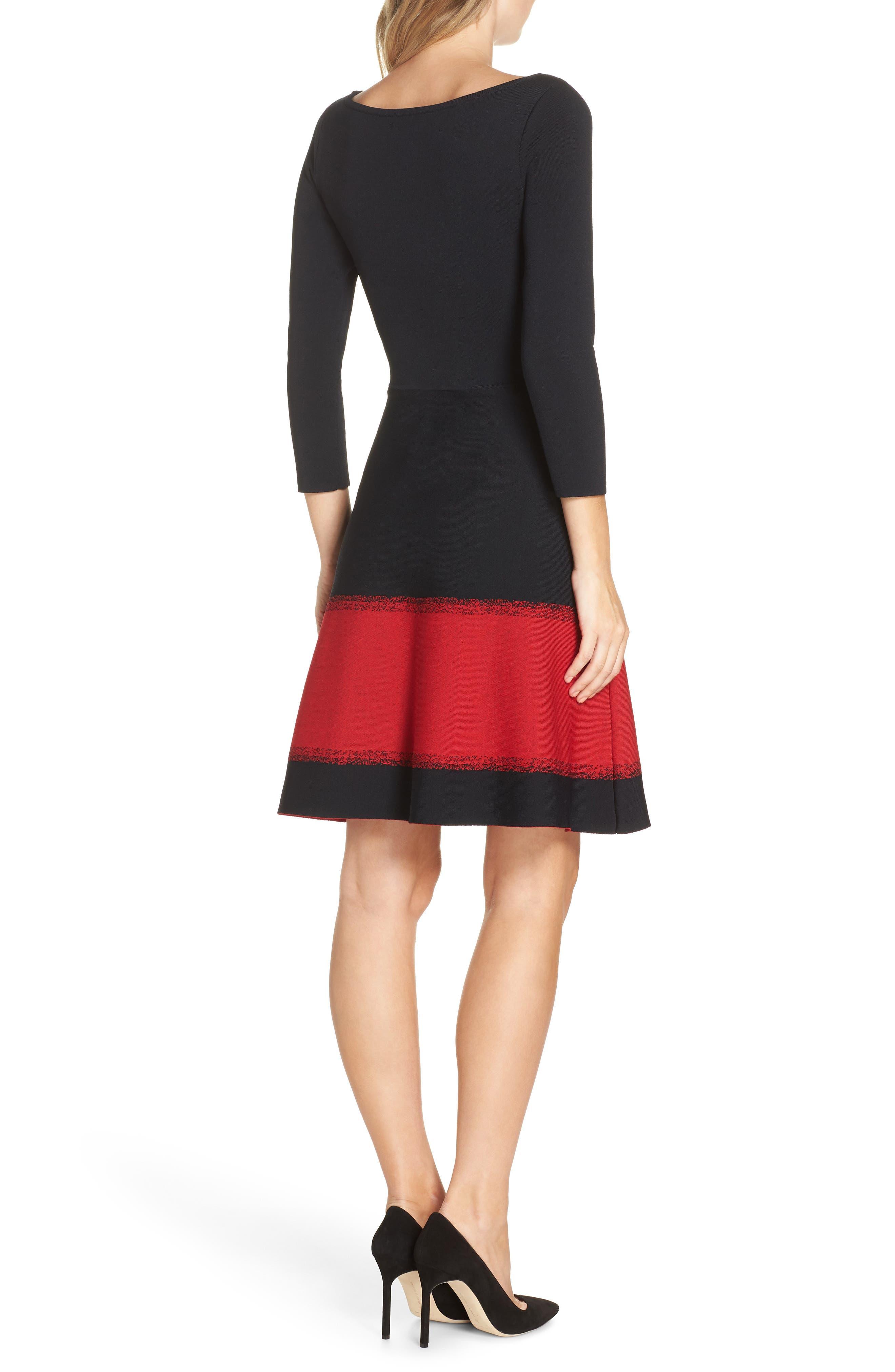 ELIZA J, Contrast Stripe Fit & Flare Dress, Alternate thumbnail 2, color, 001