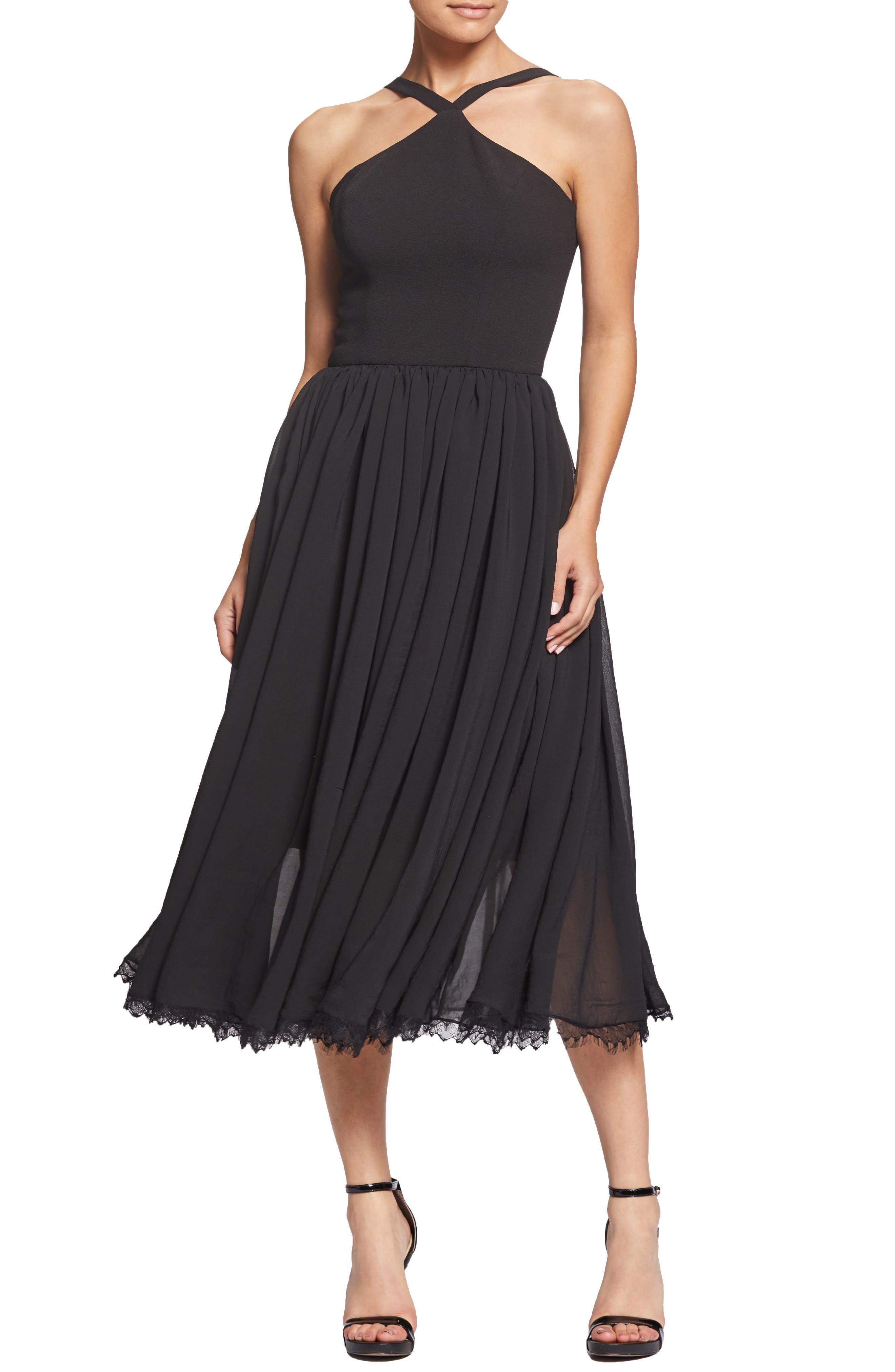 Dress The Population Dakota Crepe Chiffon Cocktail Dress, Black