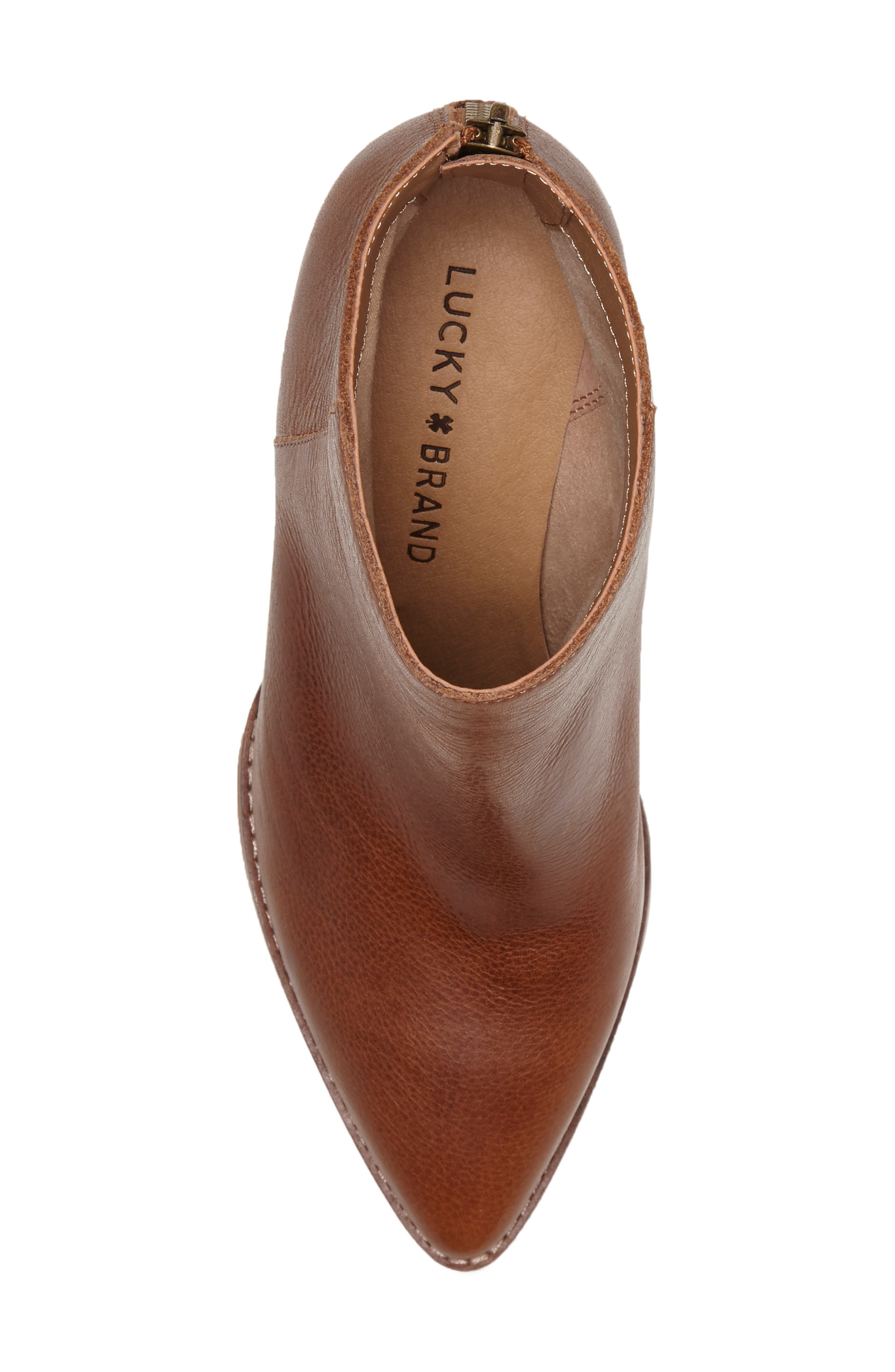 LUCKY BRAND, Adalan Bootie, Alternate thumbnail 5, color, MACAROON LEATHER