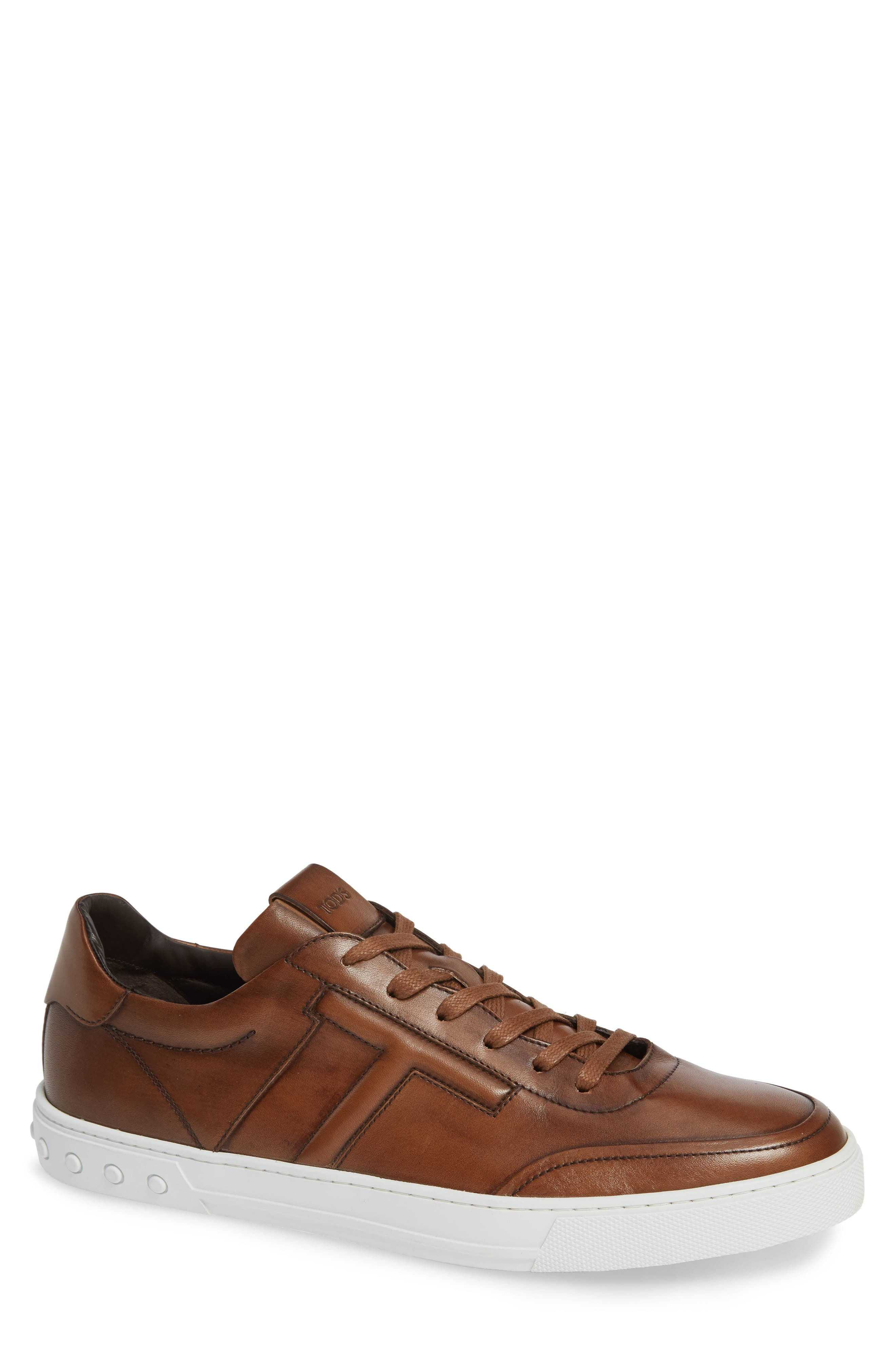 TOD'S, 'Cassetta' Sneaker, Main thumbnail 1, color, CARAMEL/ SPECIAL LEATHER