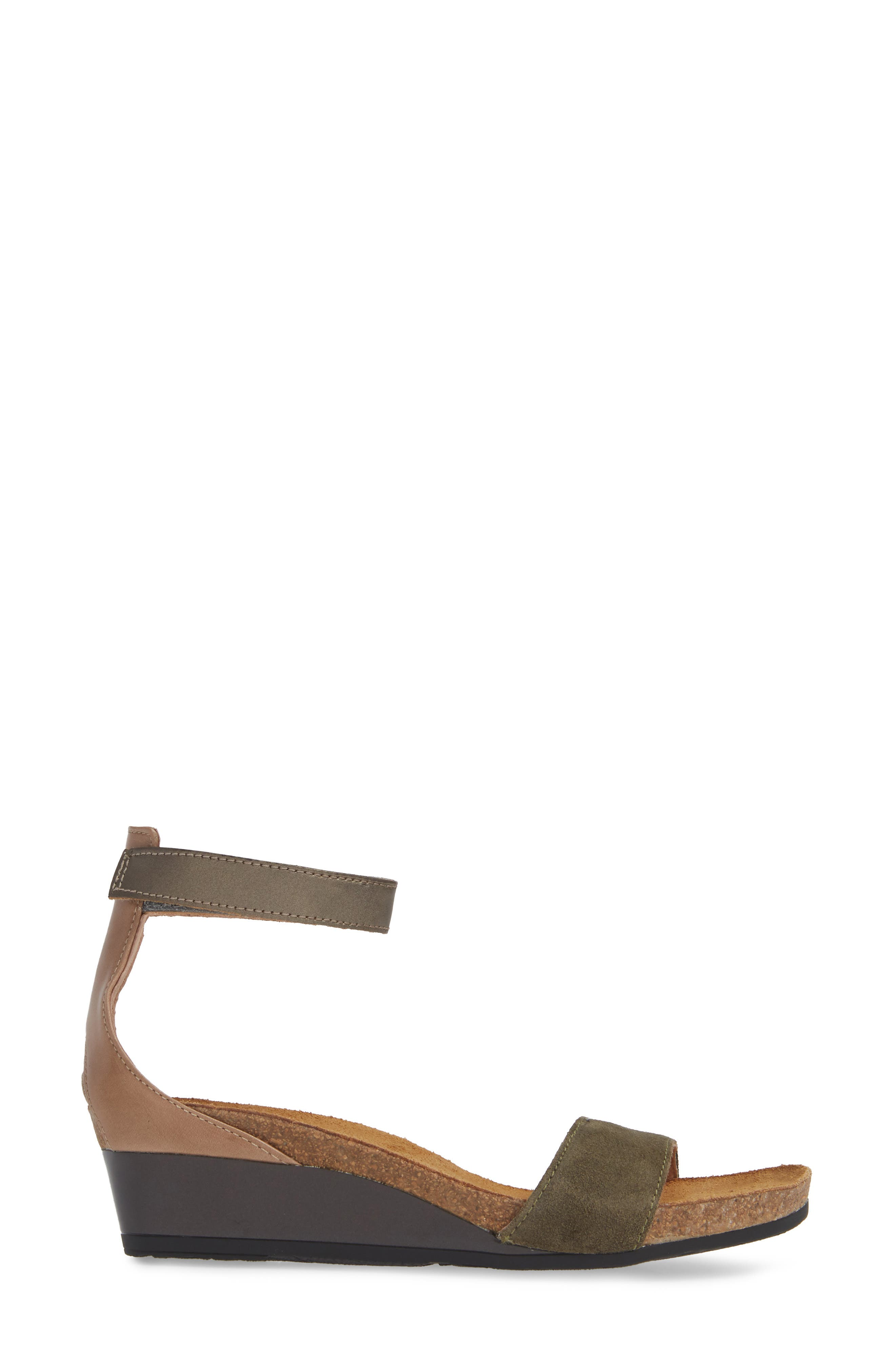 NAOT, 'Pixie' Sandal, Alternate thumbnail 3, color, OLIVE SUEDE/ PEWTER LEATHER