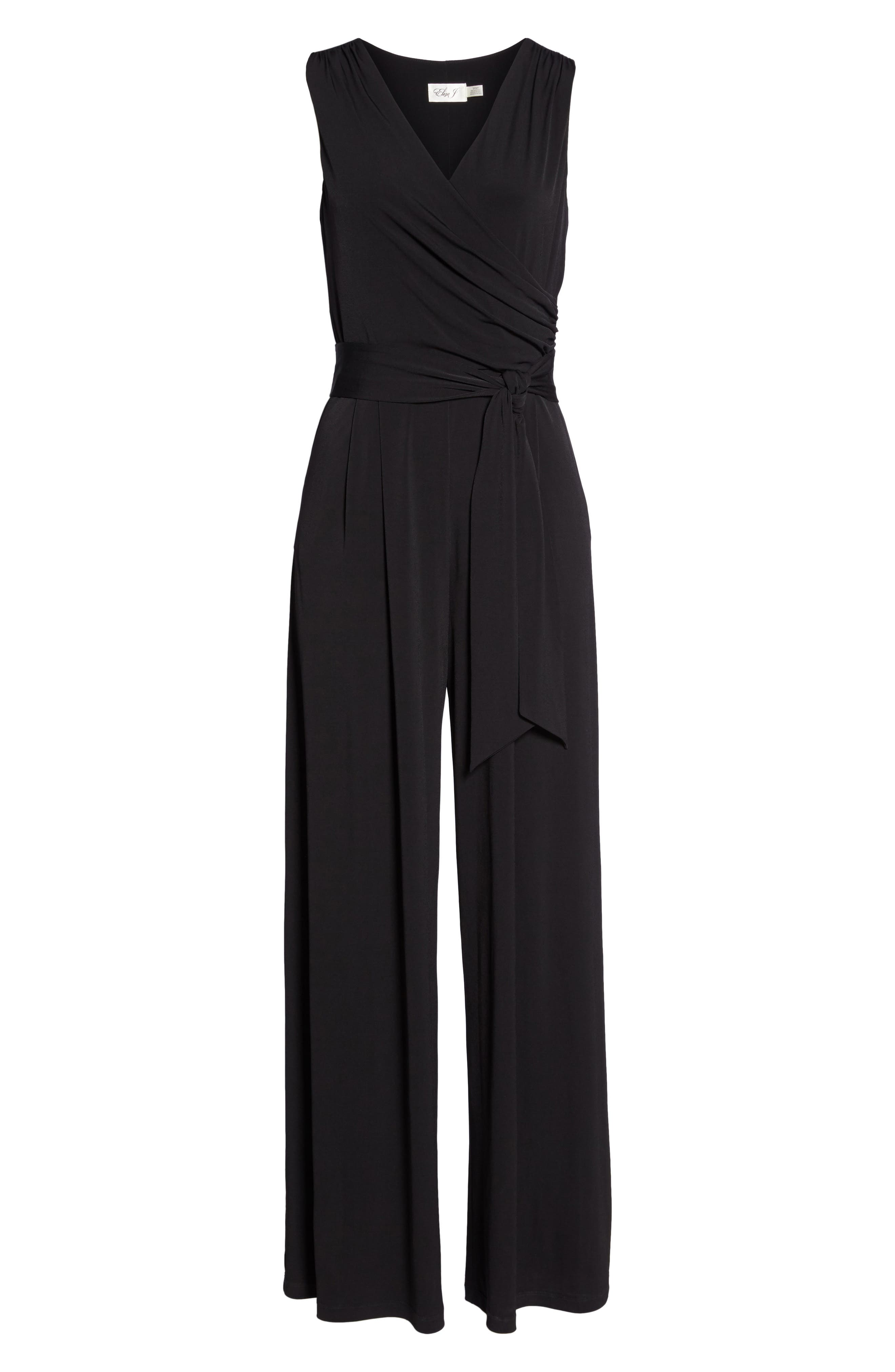 ELIZA J, Faux Wrap Wide Leg Jumpsuit, Alternate thumbnail 7, color, BLACK