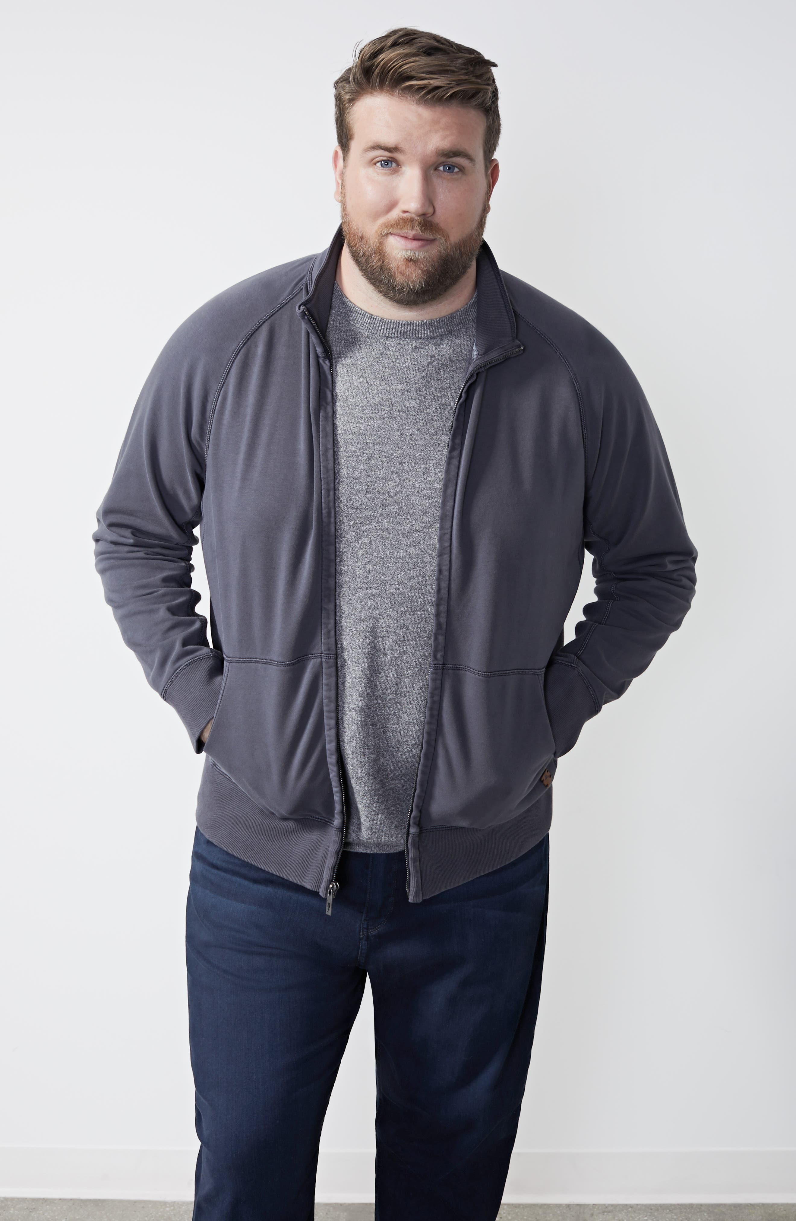 NORDSTROM MEN'S SHOP, Cotton & Cashmere Crewneck Sweater, Alternate thumbnail 8, color, GREY SHADE MARL