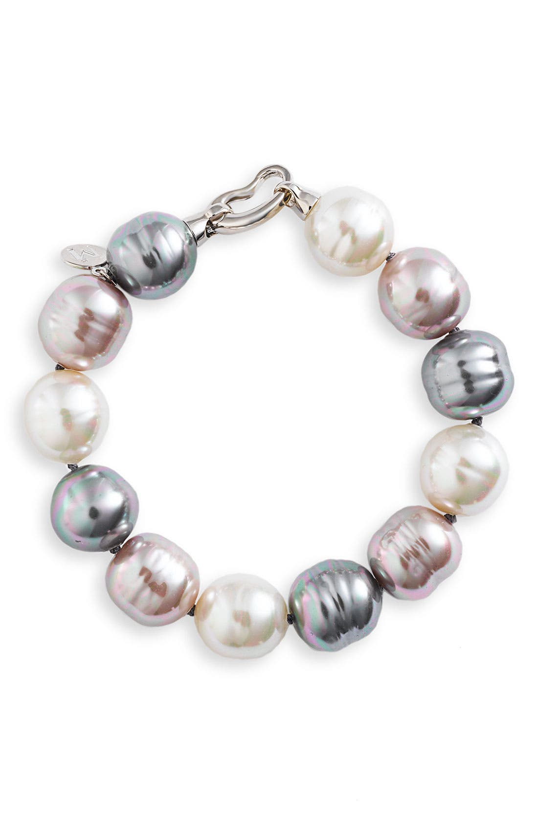MAJORICA, 14mm Baroque Pearl Single Row Bracelet, Main thumbnail 1, color, 040