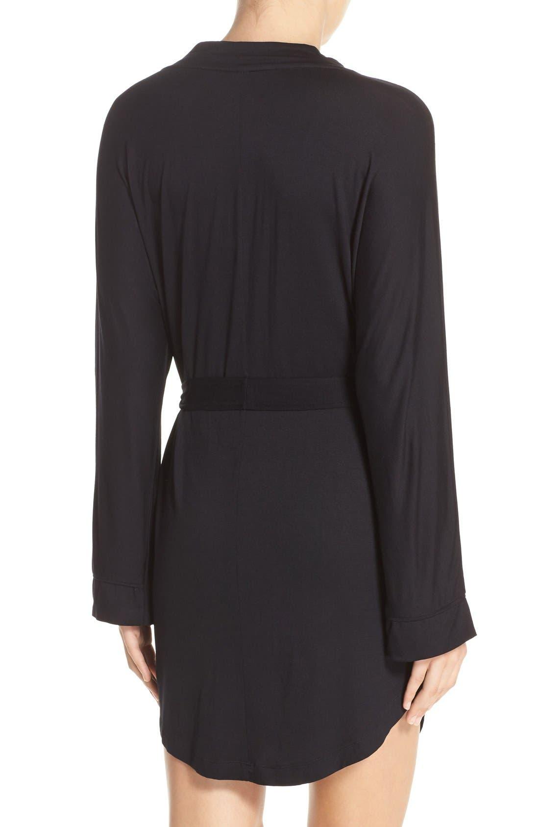 HONEYDEW INTIMATES, All American Jersey Robe, Alternate thumbnail 5, color, BLACK