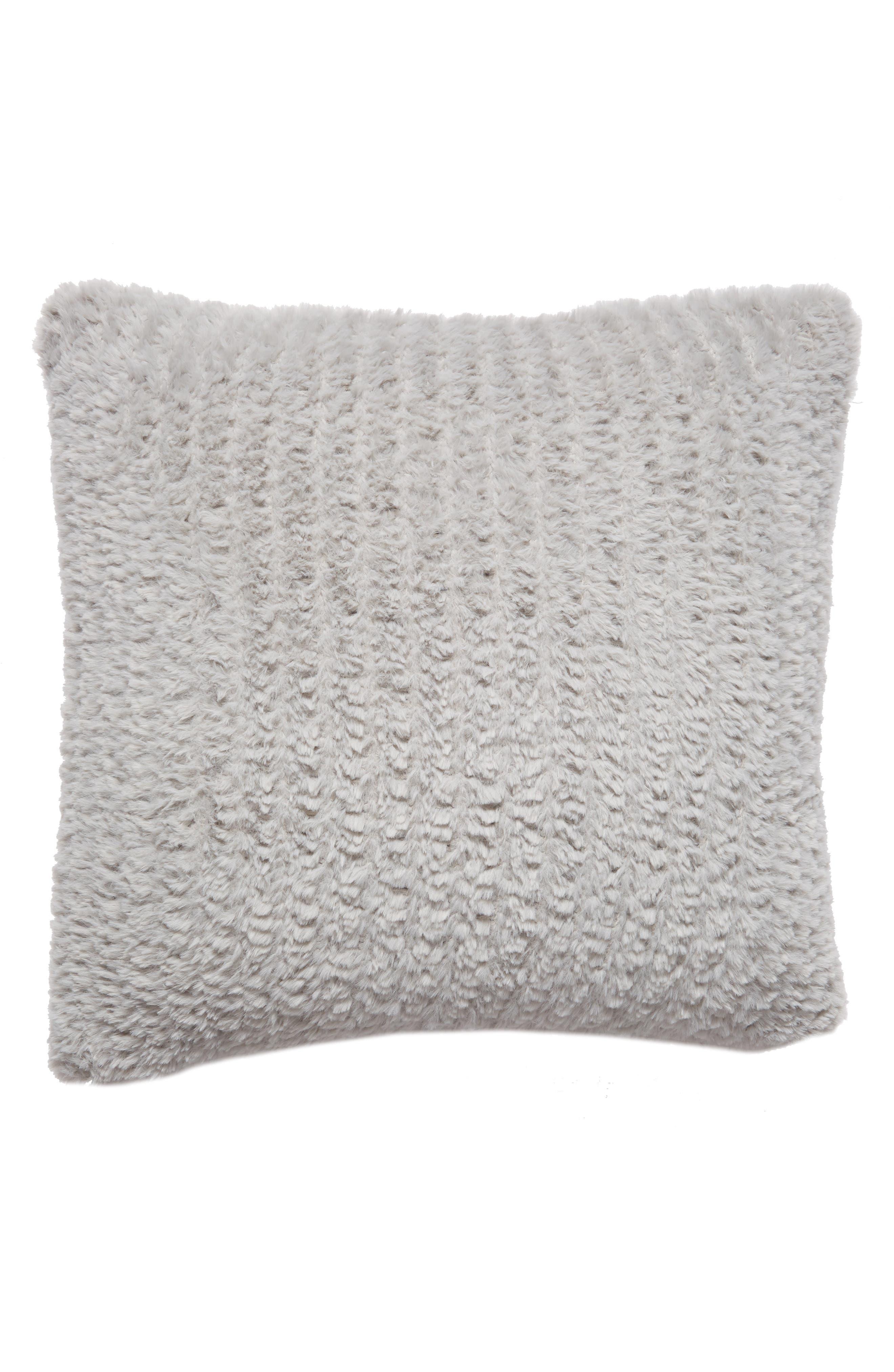 NORDSTROM AT HOME, Lazy Days Faux Fur Accent Pillow, Alternate thumbnail 2, color, GREY VAPOR