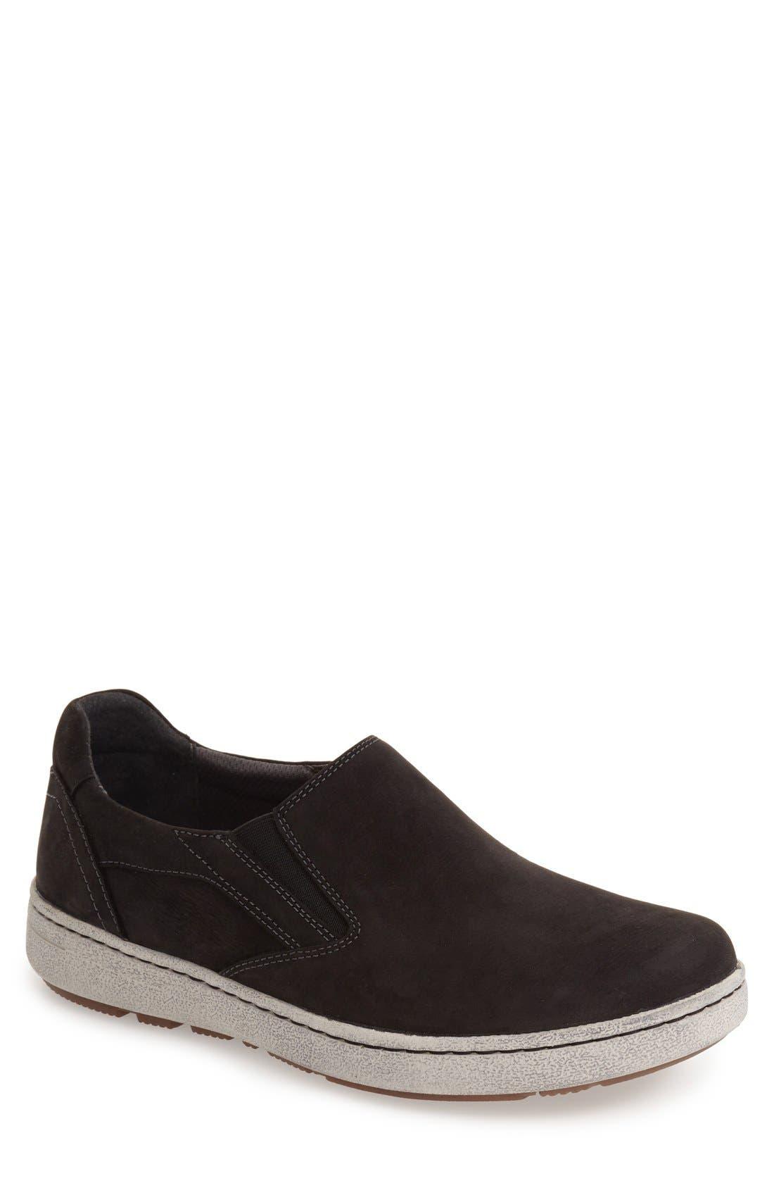 DANSKO 'Viktor' Water Resistant Slip-On Sneaker, Main, color, BLACK MILLED NUBUCK LEATHER