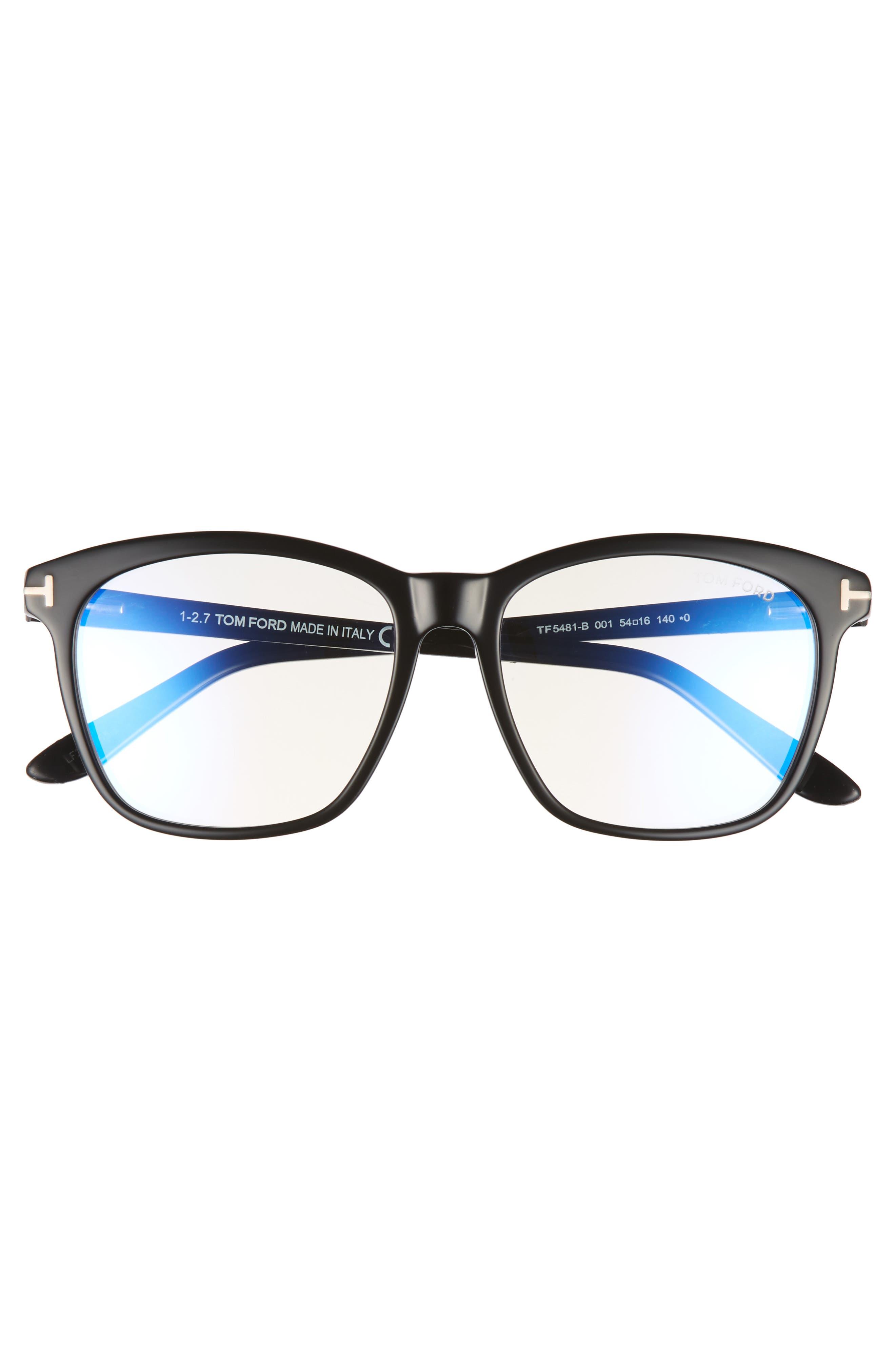 TOM FORD, 54mm Blue Block Optical Glasses, Alternate thumbnail 3, color, BLACK/ BLUE