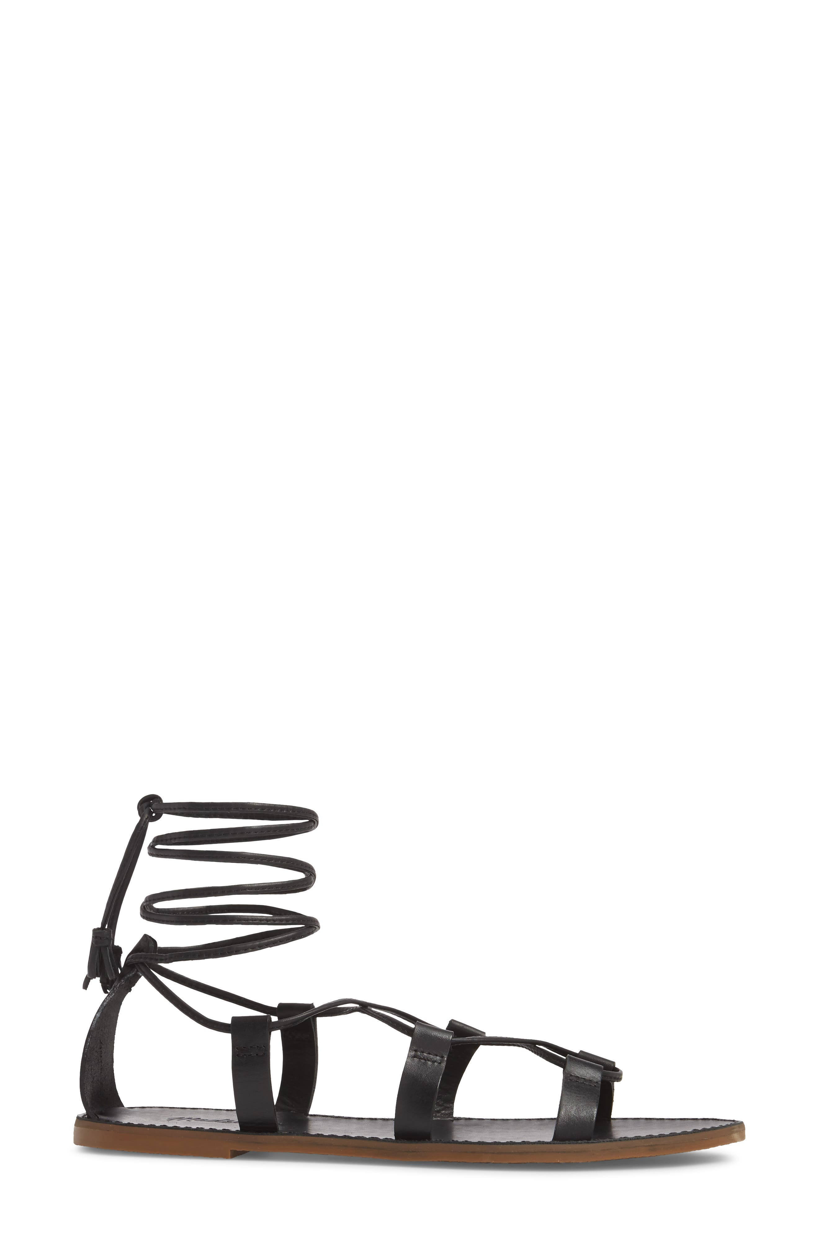 MADEWELL, The Boardwalk Lace-Up Sandal, Alternate thumbnail 3, color, 001