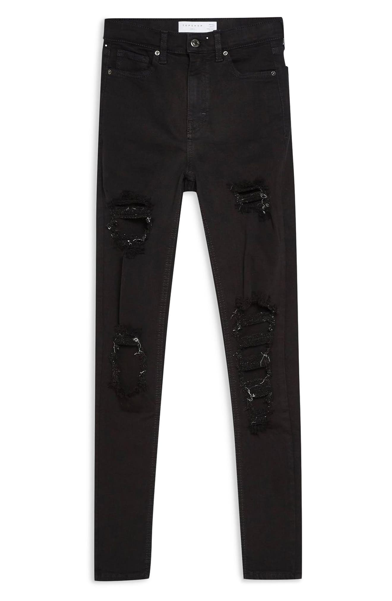 TOPSHOP, Jamie Ripped High Waist Ankle Skinny Jeans, Alternate thumbnail 3, color, BLACK
