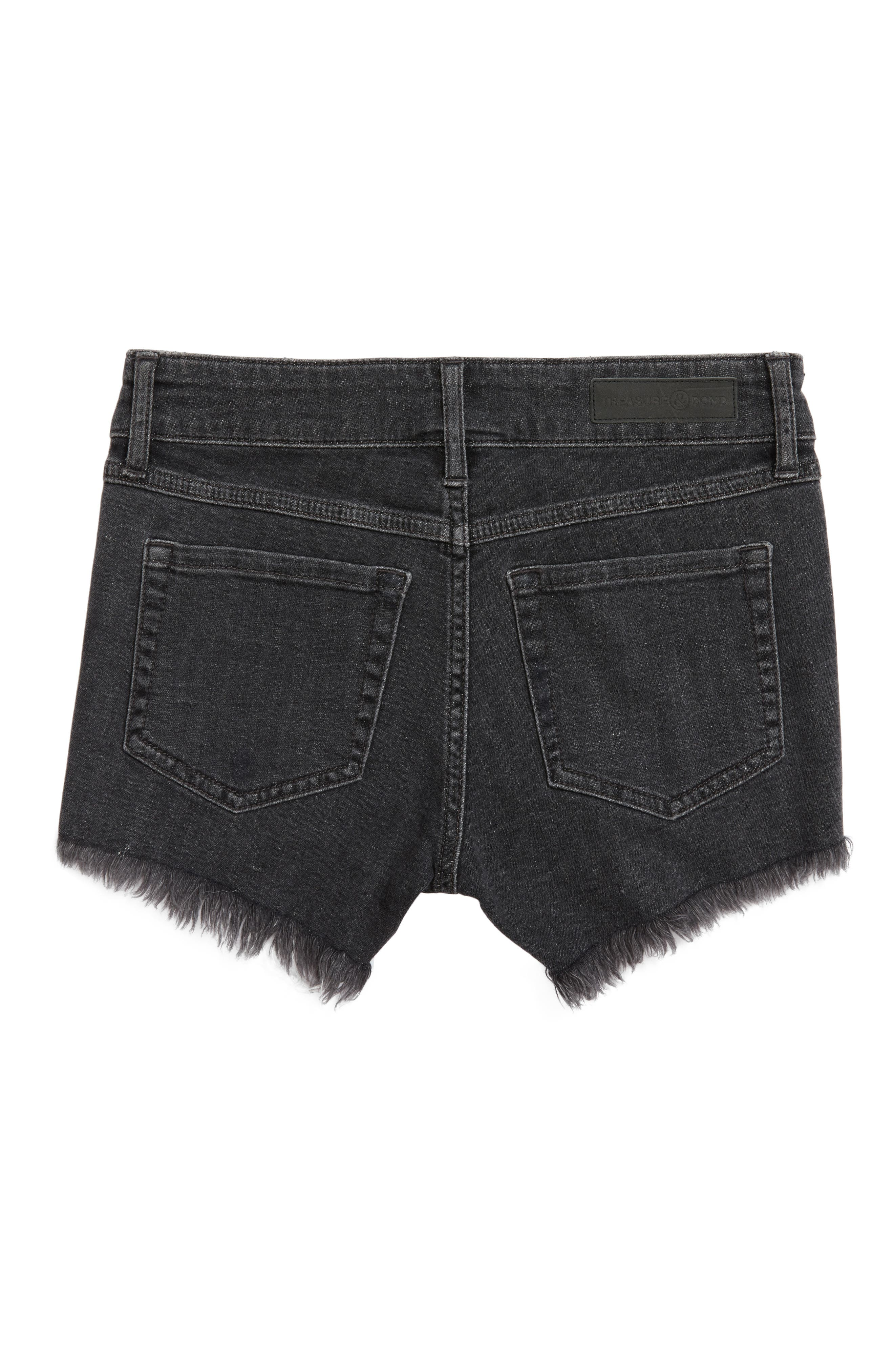 TREASURE & BOND, Distressed Cutoff Denim Shorts, Alternate thumbnail 2, color, BLACK VINTAGE WASH