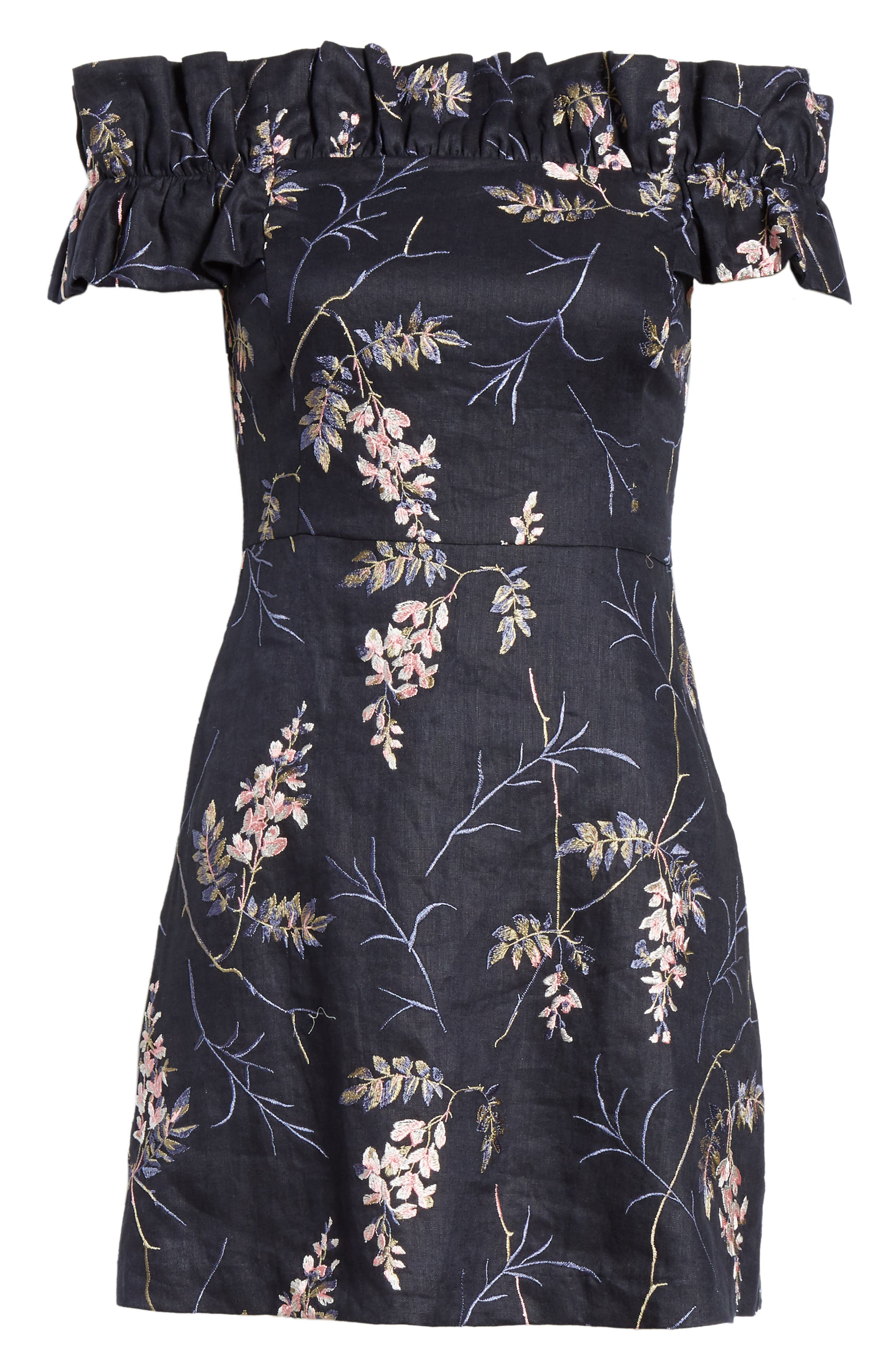 REBECCA TAYLOR, Ivie Off the Shoulder Embroidered Detail Linen Dress, Alternate thumbnail 6, color, NAVY COMBO