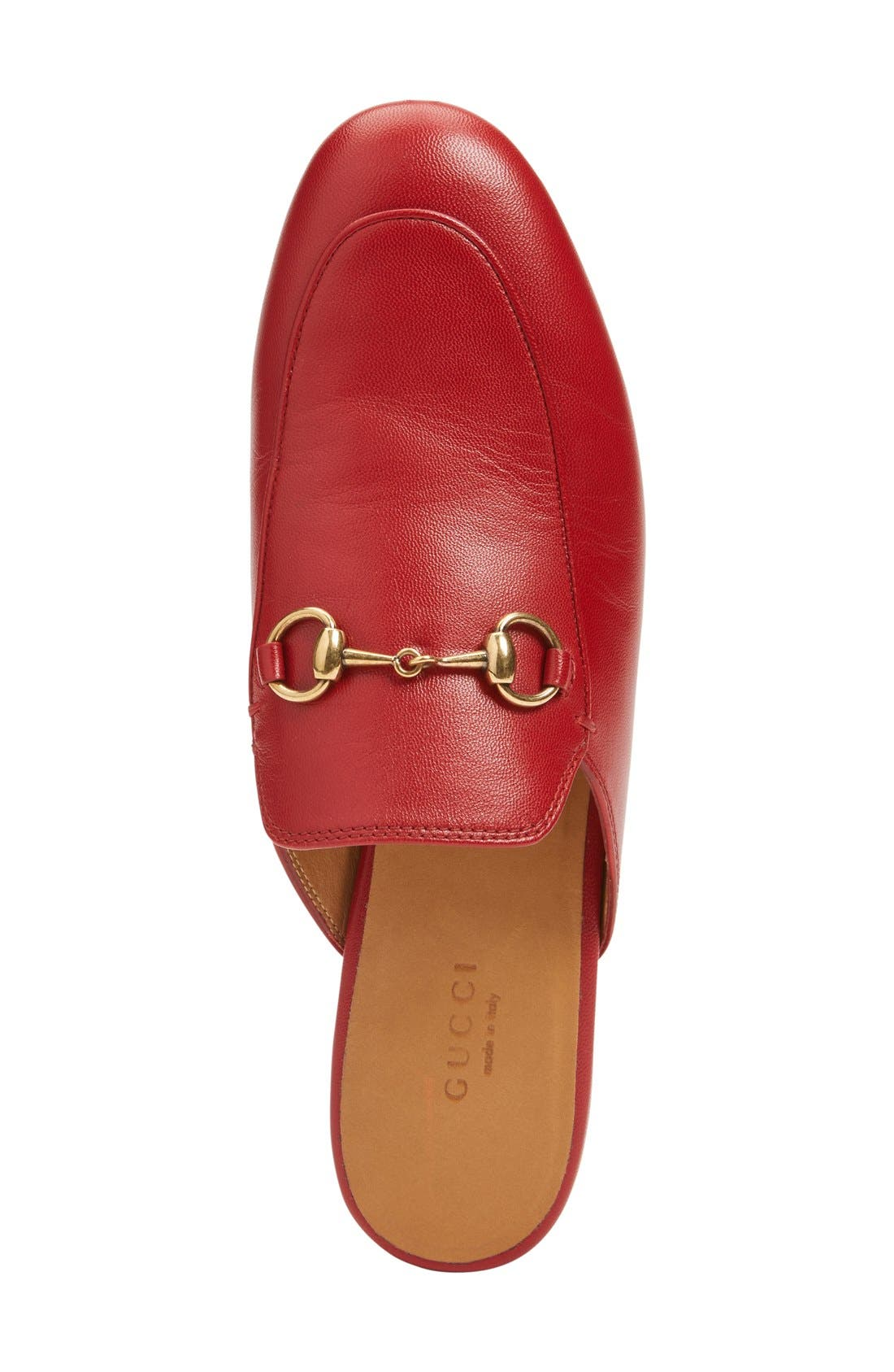 GUCCI, Princetown Loafer Mule, Alternate thumbnail 4, color, RED LEATHER