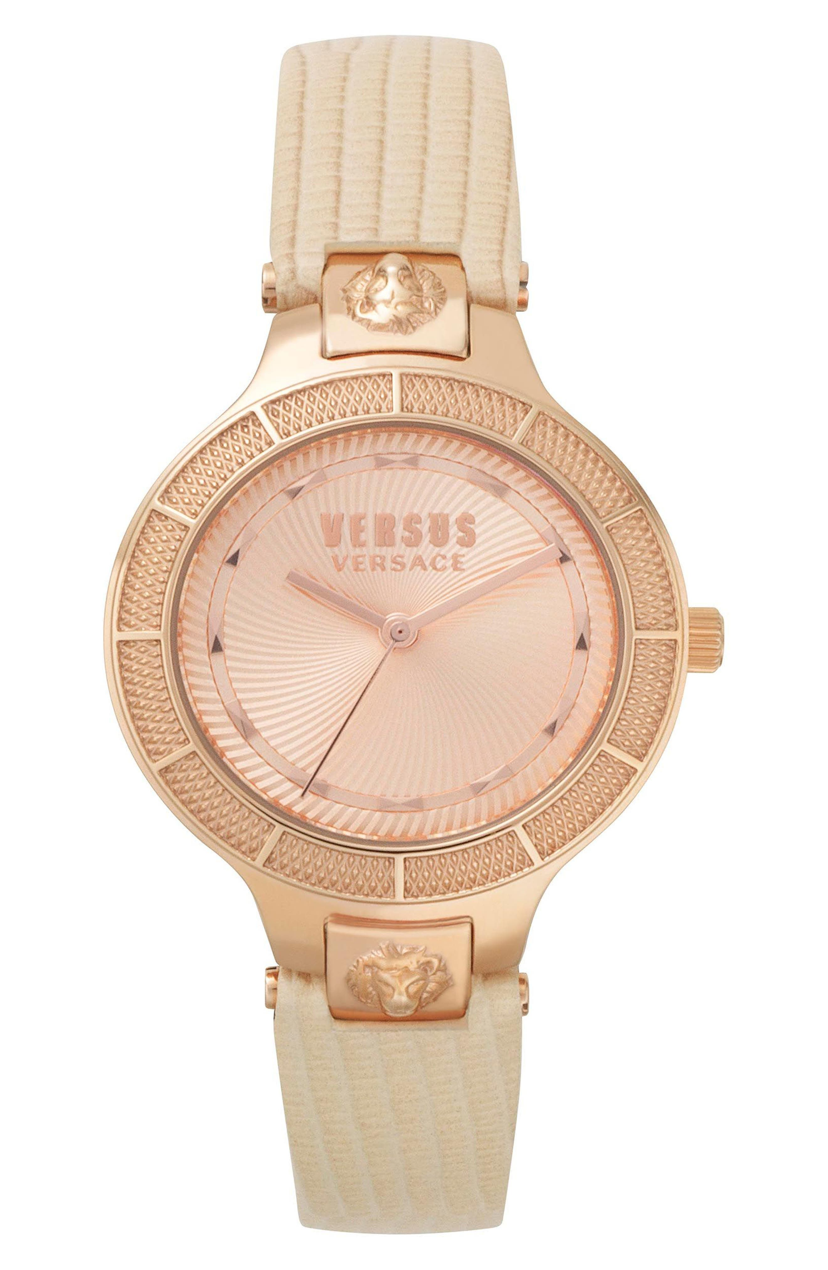 VERSUS VERSACE, Claremont Leather Strap Watch, 32mm, Main thumbnail 1, color, PINK/ ROSE GOLD