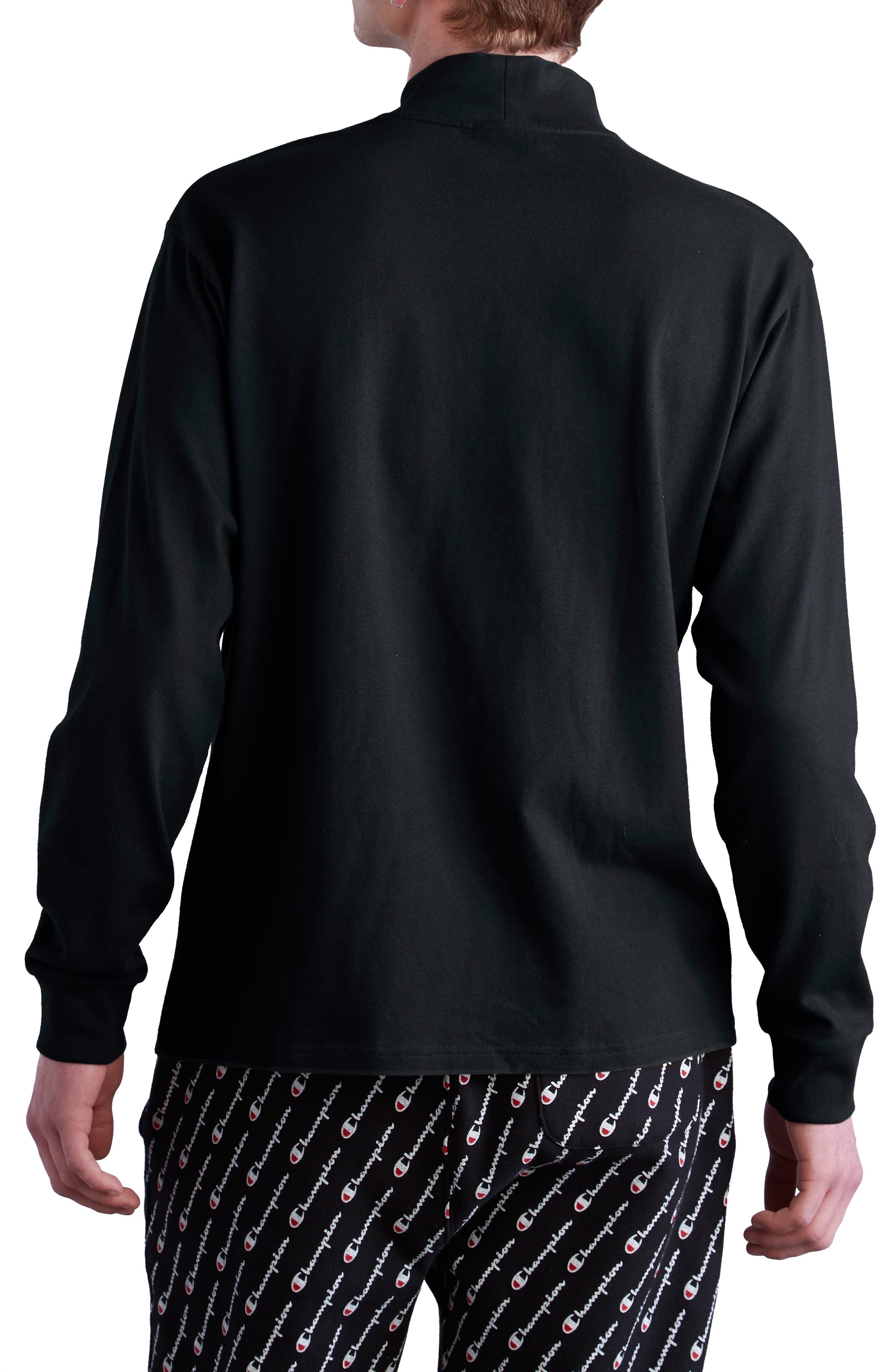 CHAMPION, Heavyweight Mock Neck T-Shirt, Alternate thumbnail 2, color, BLACK