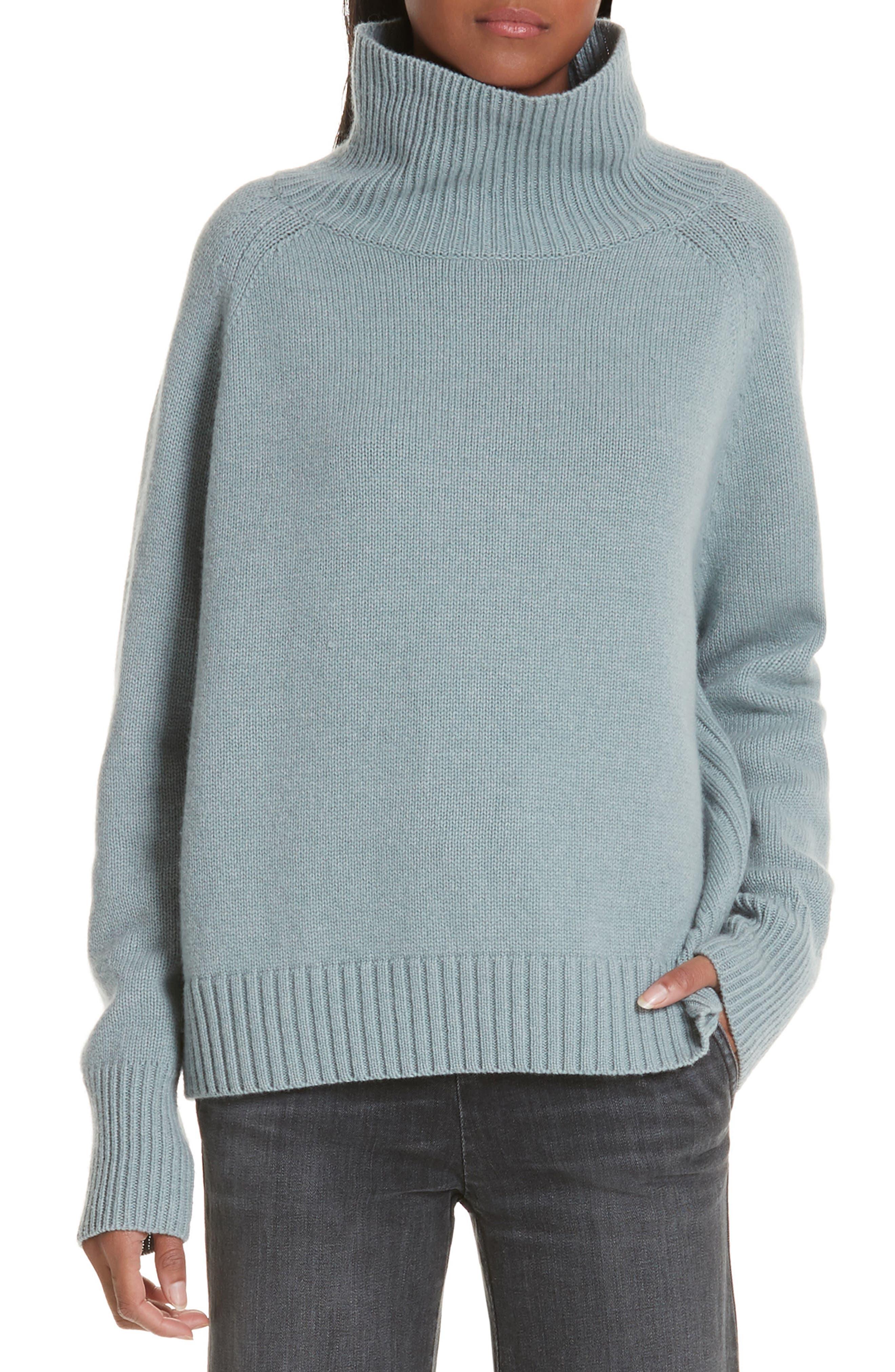 NILI LOTAN Mariah Funnel Neck Cashmere Sweater, Main, color, SKY BLUE