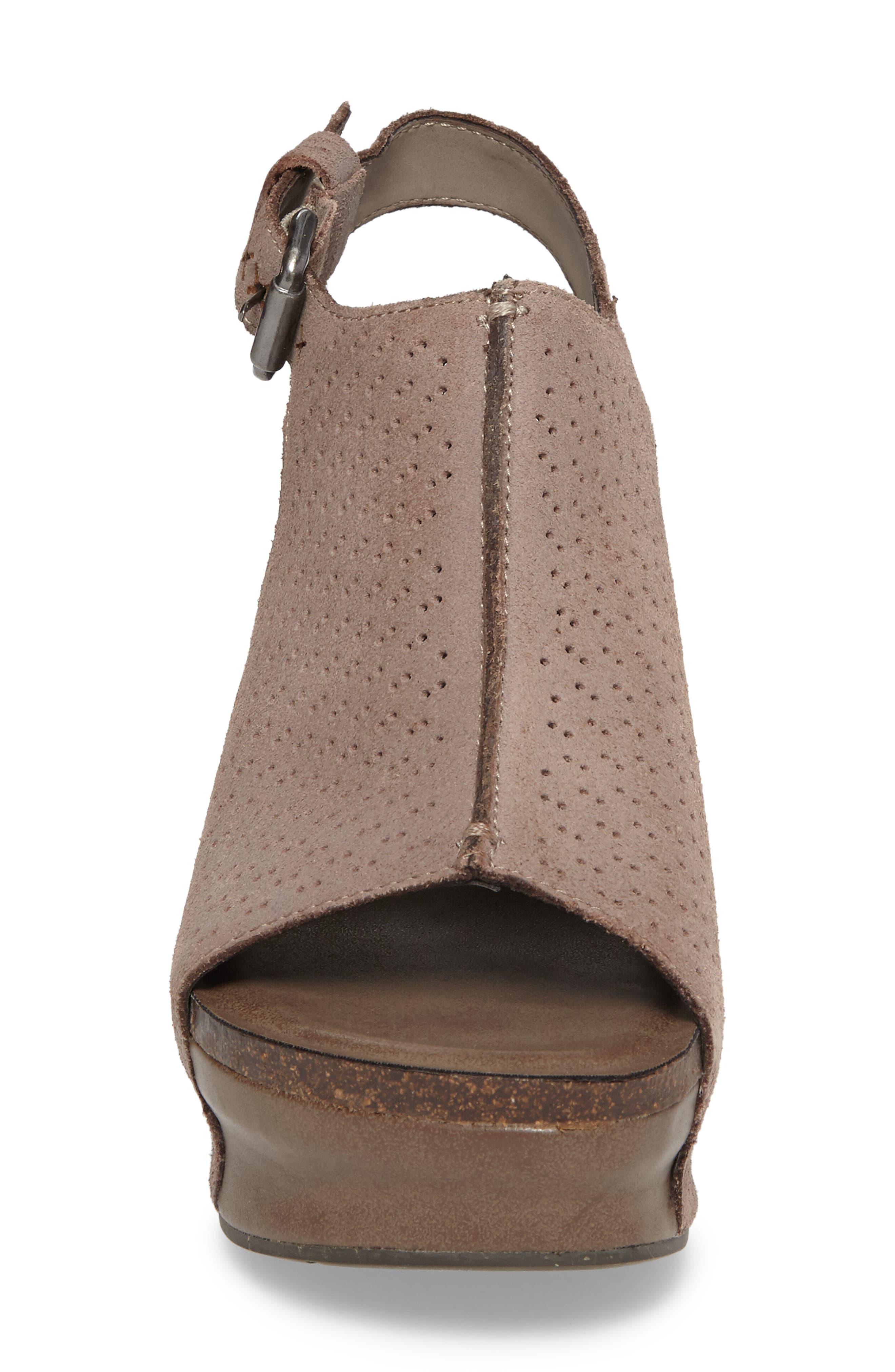 OTBT, Jaunt Platform Wedge Sandal, Alternate thumbnail 4, color, GREY POWDER SUEDE