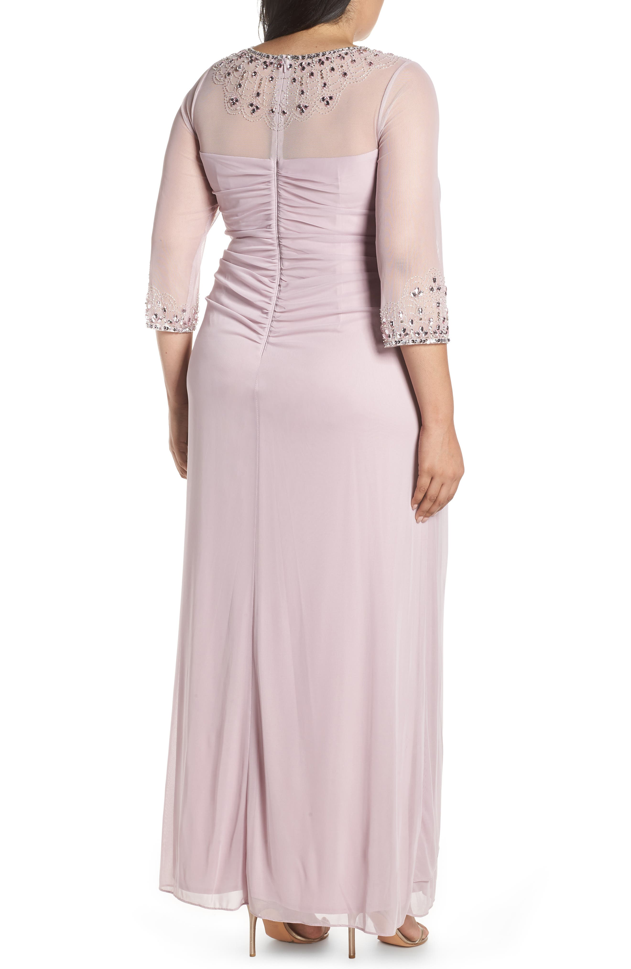 ALEX EVENINGS, Beaded Illusion Neck A-Line Gown, Alternate thumbnail 2, color, SMOKEY ORCHID