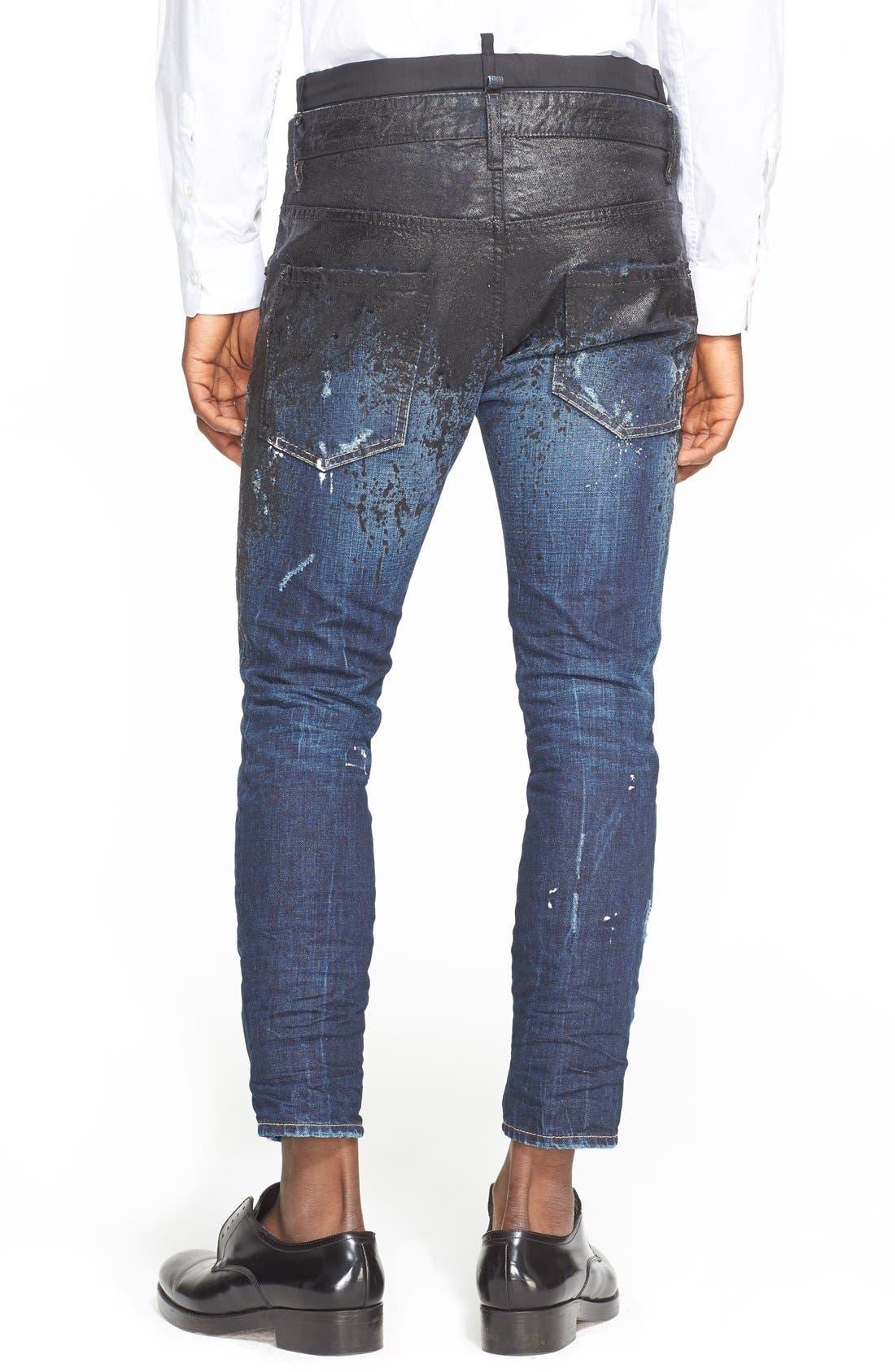 DSQUARED2, Skater Fit Double Waist Paint Splatter Jeans, Alternate thumbnail 2, color, 005