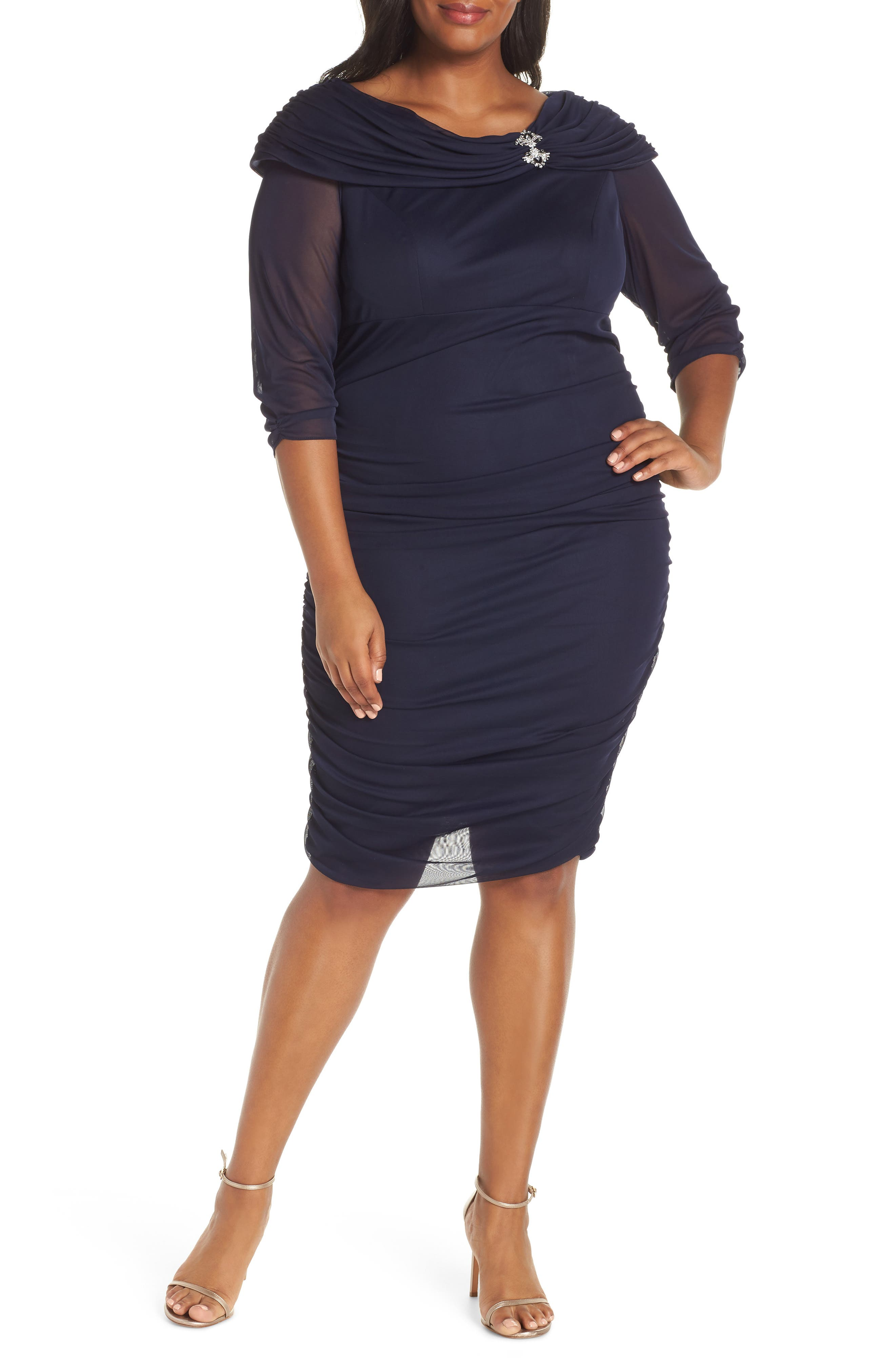 Plus Size Alex Evenings Embellished Collar Ruched Cocktail Sheath, Blue