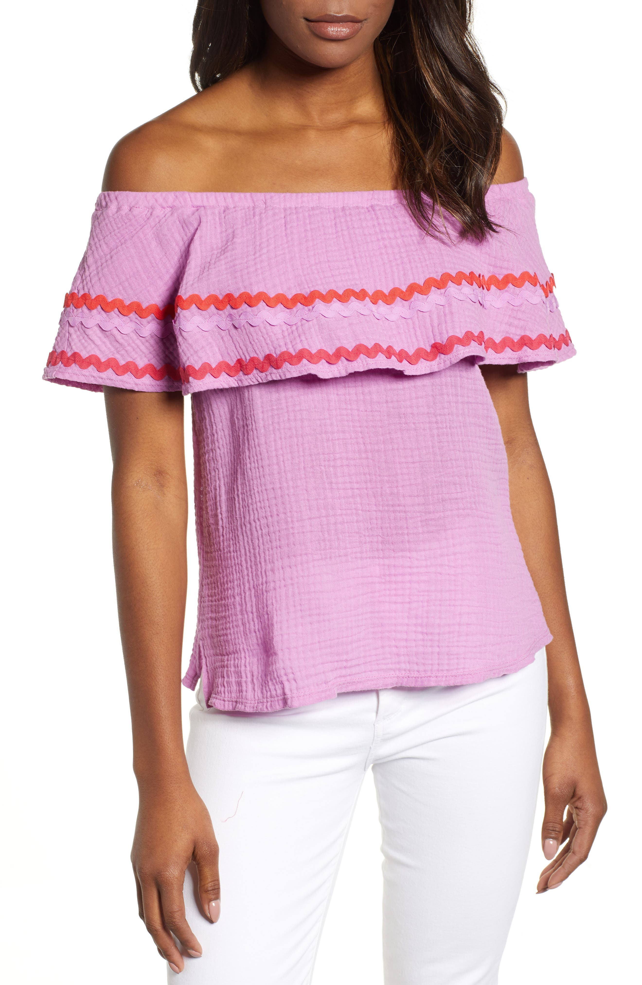 GIBSON, x Hi Sugarplum! Santa Fe Rickrack Off the Shoulder Top, Main thumbnail 1, color, PEONY