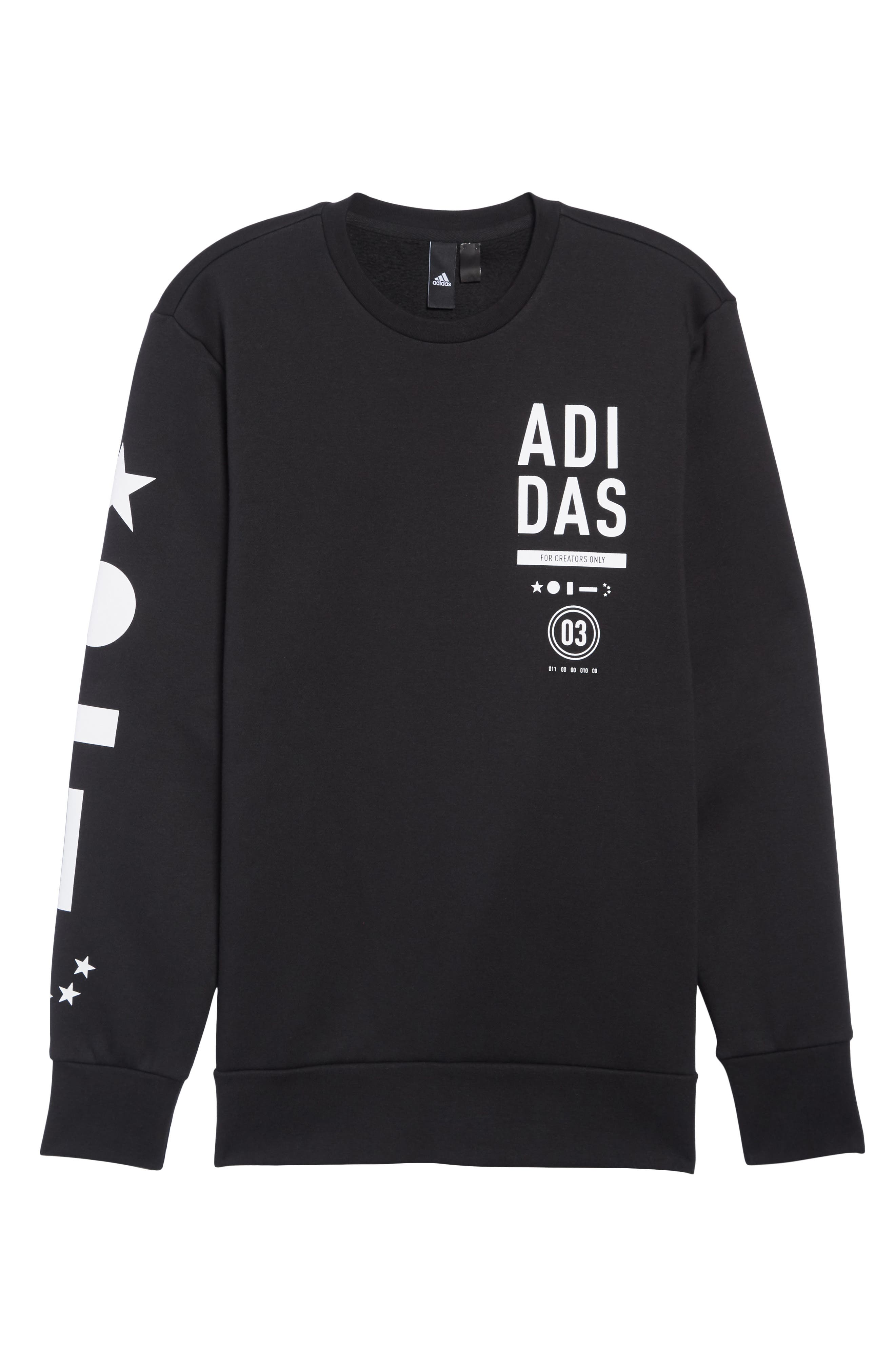 ADIDAS, International Regular Fit Sweatshirt, Alternate thumbnail 6, color, BLACK