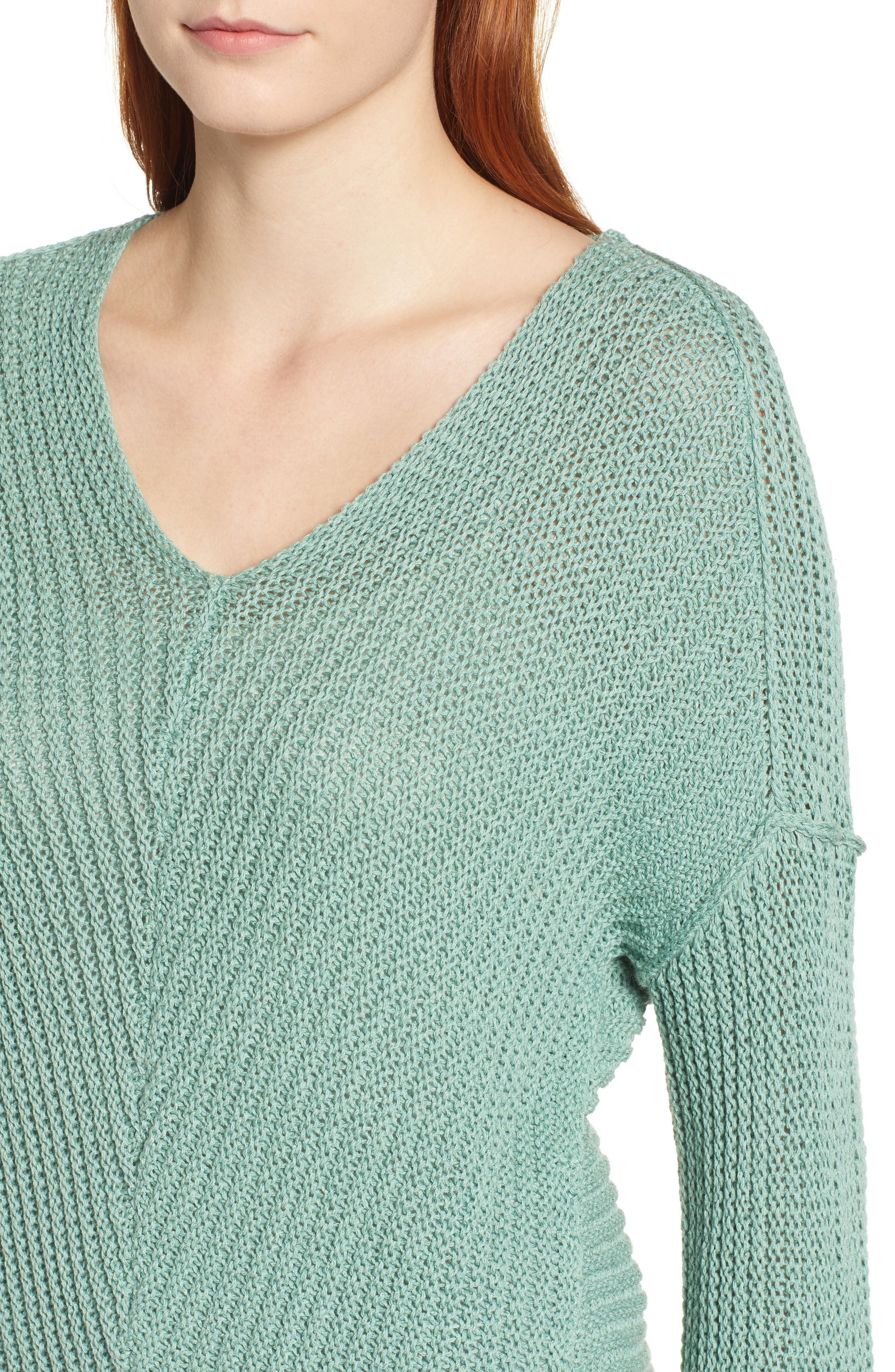 CASLON<SUP>®</SUP>, Cuffed Sleeve Sweater, Alternate thumbnail 4, color, GREEN WING