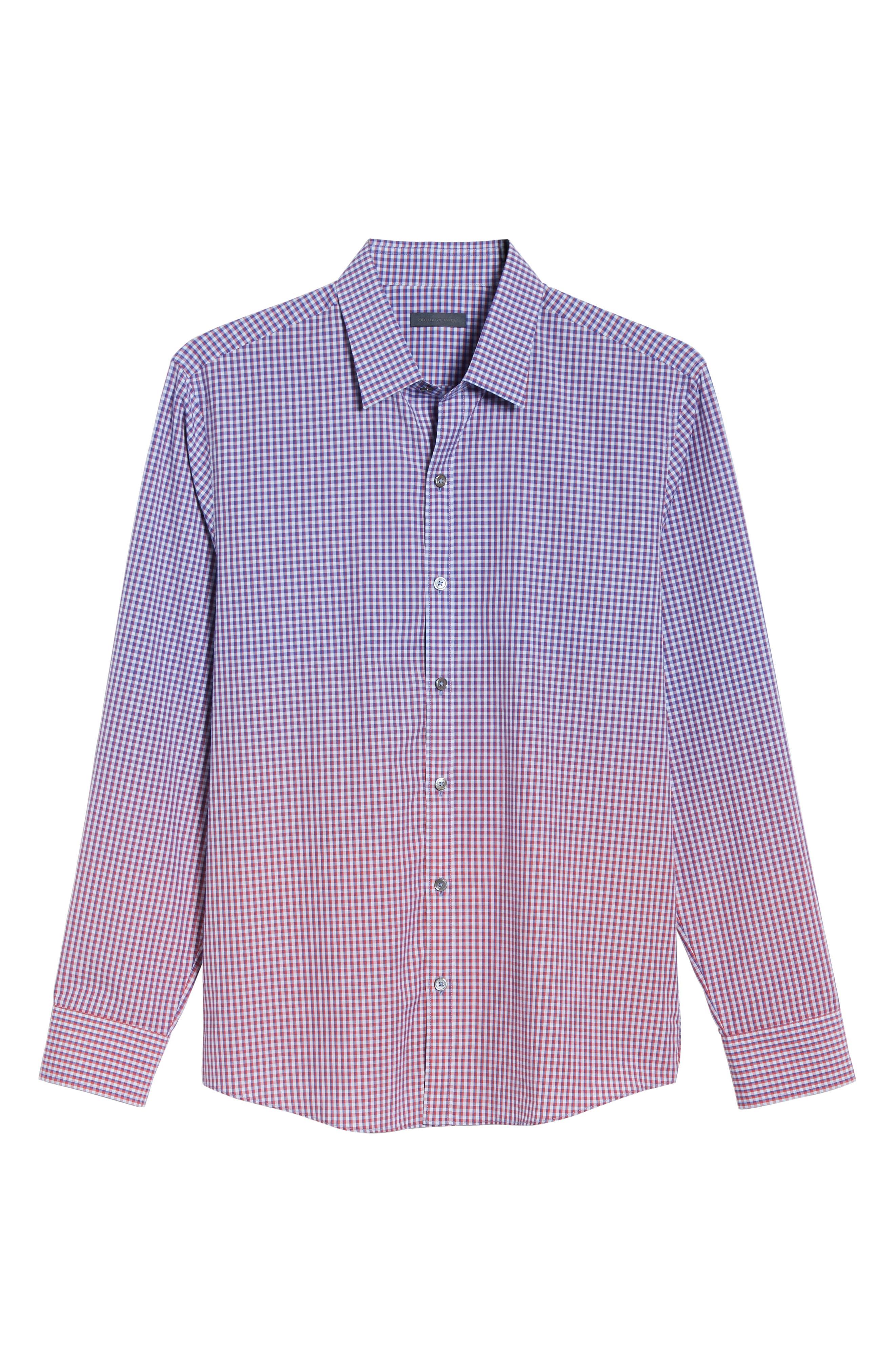 ZACHARY PRELL, Germain Regular Fit Gradient Check Sport Shirt, Alternate thumbnail 5, color, RED