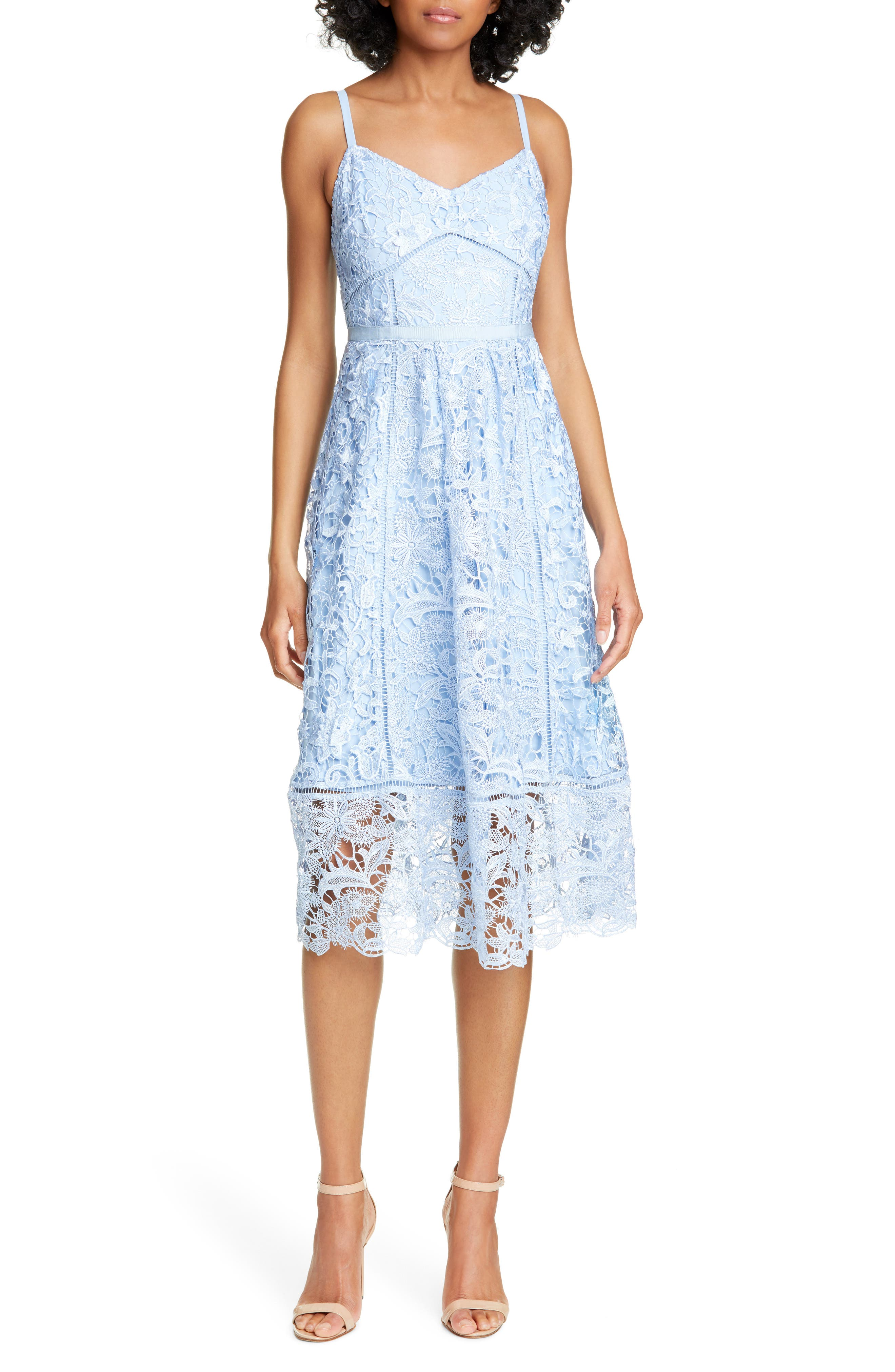 Ted Baker London Valens Lace Midi Dress, Blue