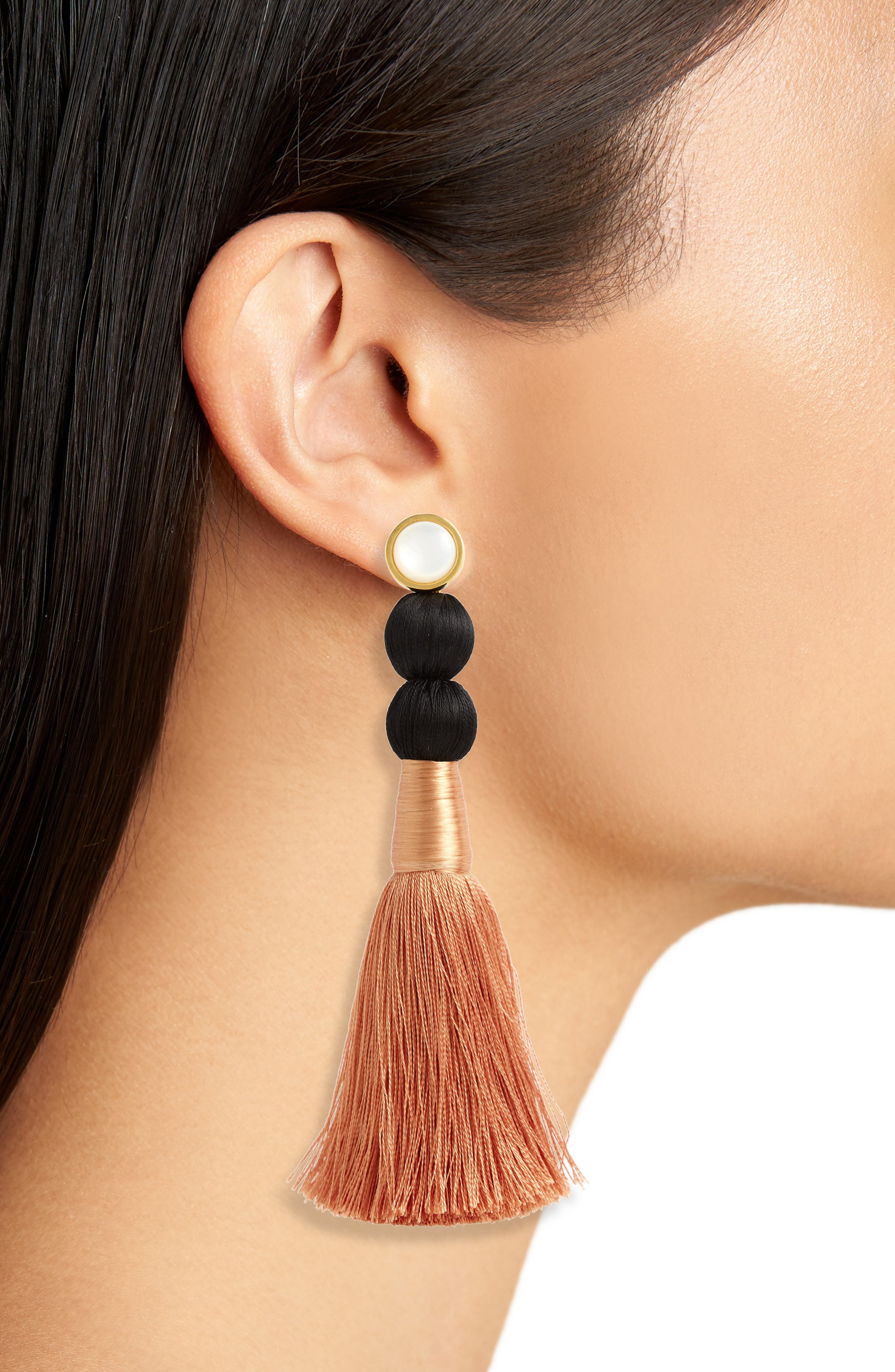 LIZZIE FORTUNATO, Modern Craft Pearl Tassel Earrings, Alternate thumbnail 2, color, ROSE