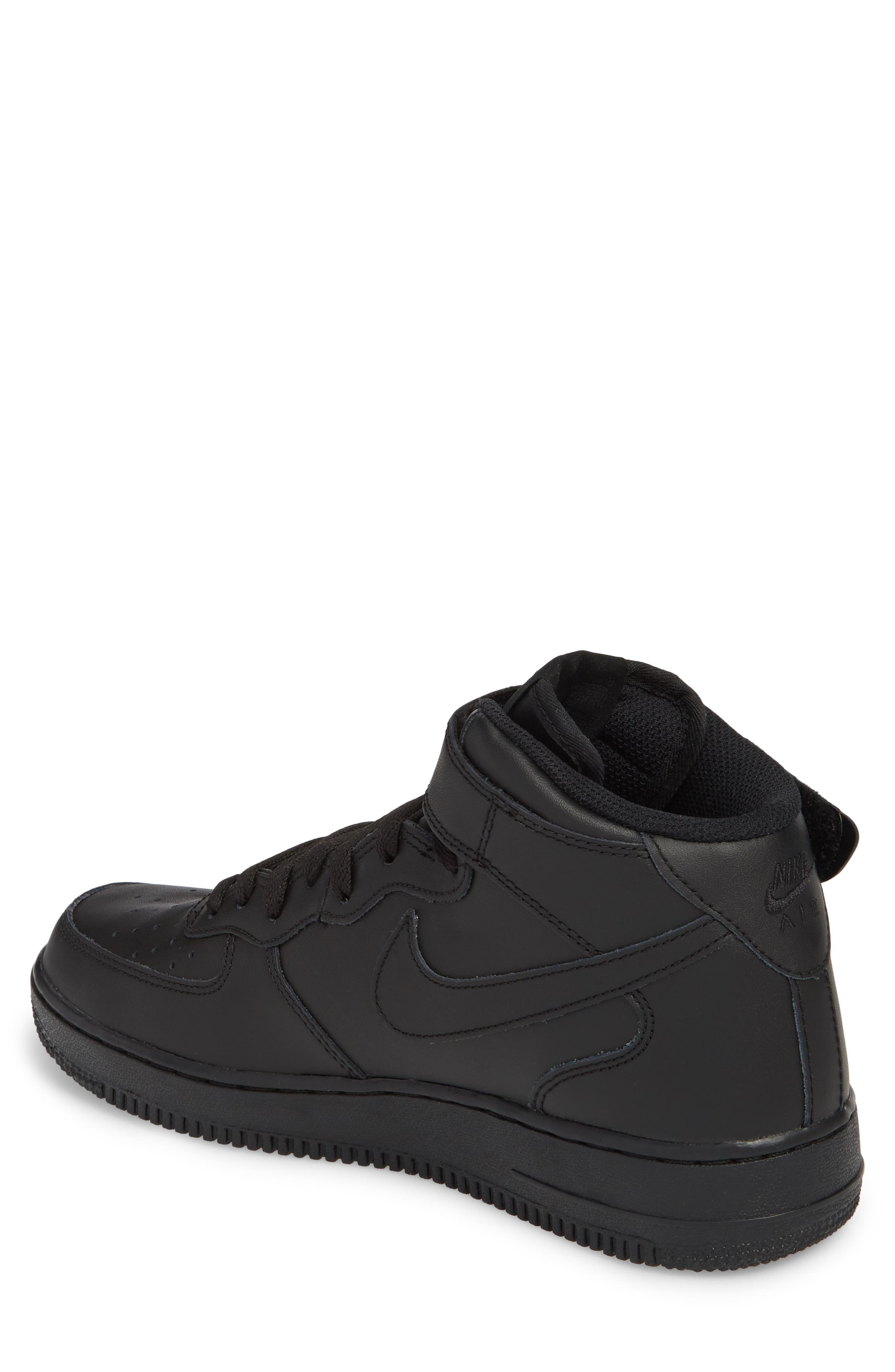 NIKE, Air Force 1 Mid '07 Sneaker, Alternate thumbnail 2, color, BLACK/ BLACK