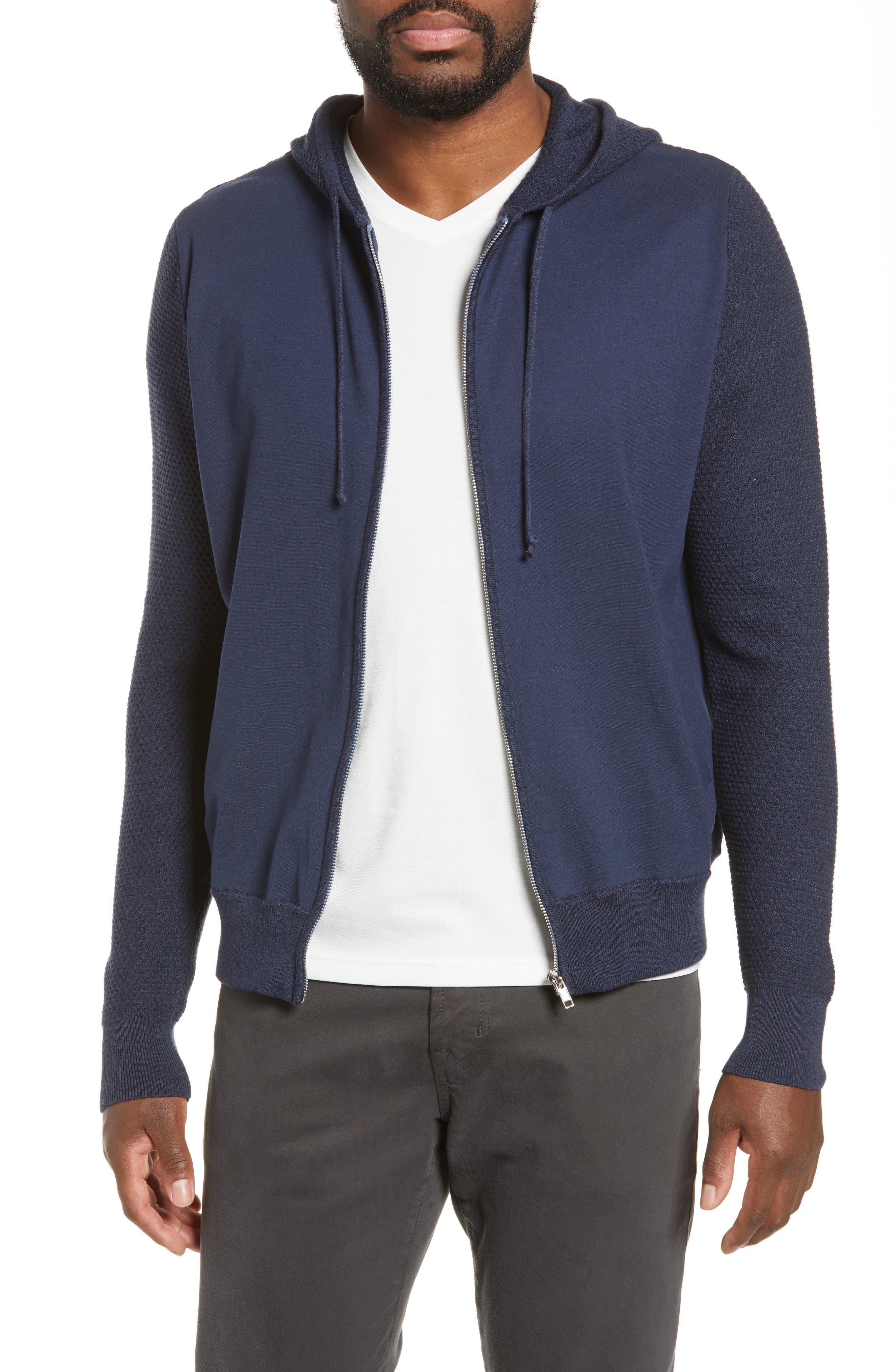 ZACHARY PRELL, Cedarhurst Hooded Zip Sweater, Main thumbnail 1, color, NAVY