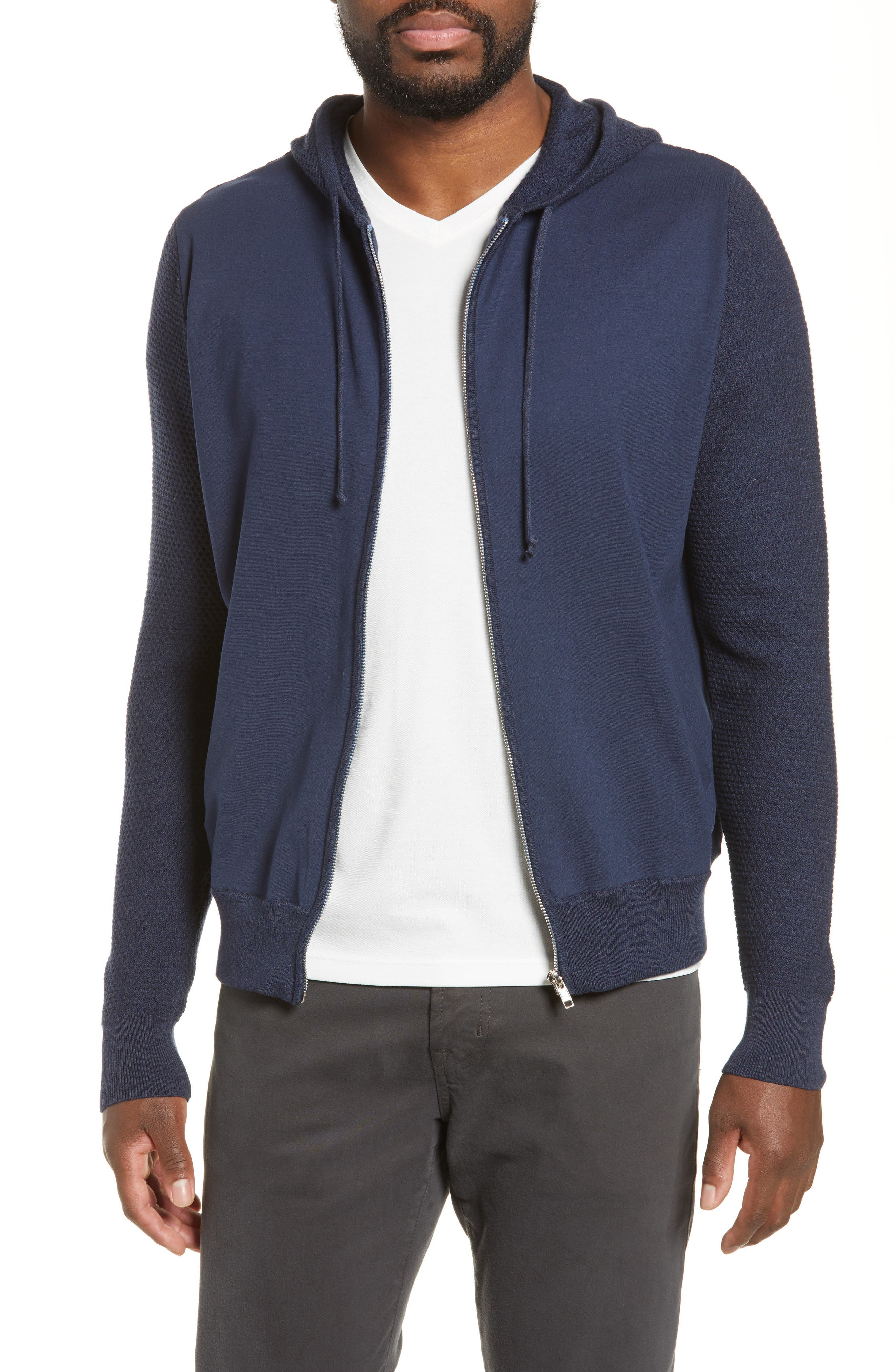 ZACHARY PRELL Cedarhurst Hooded Zip Sweater, Main, color, NAVY