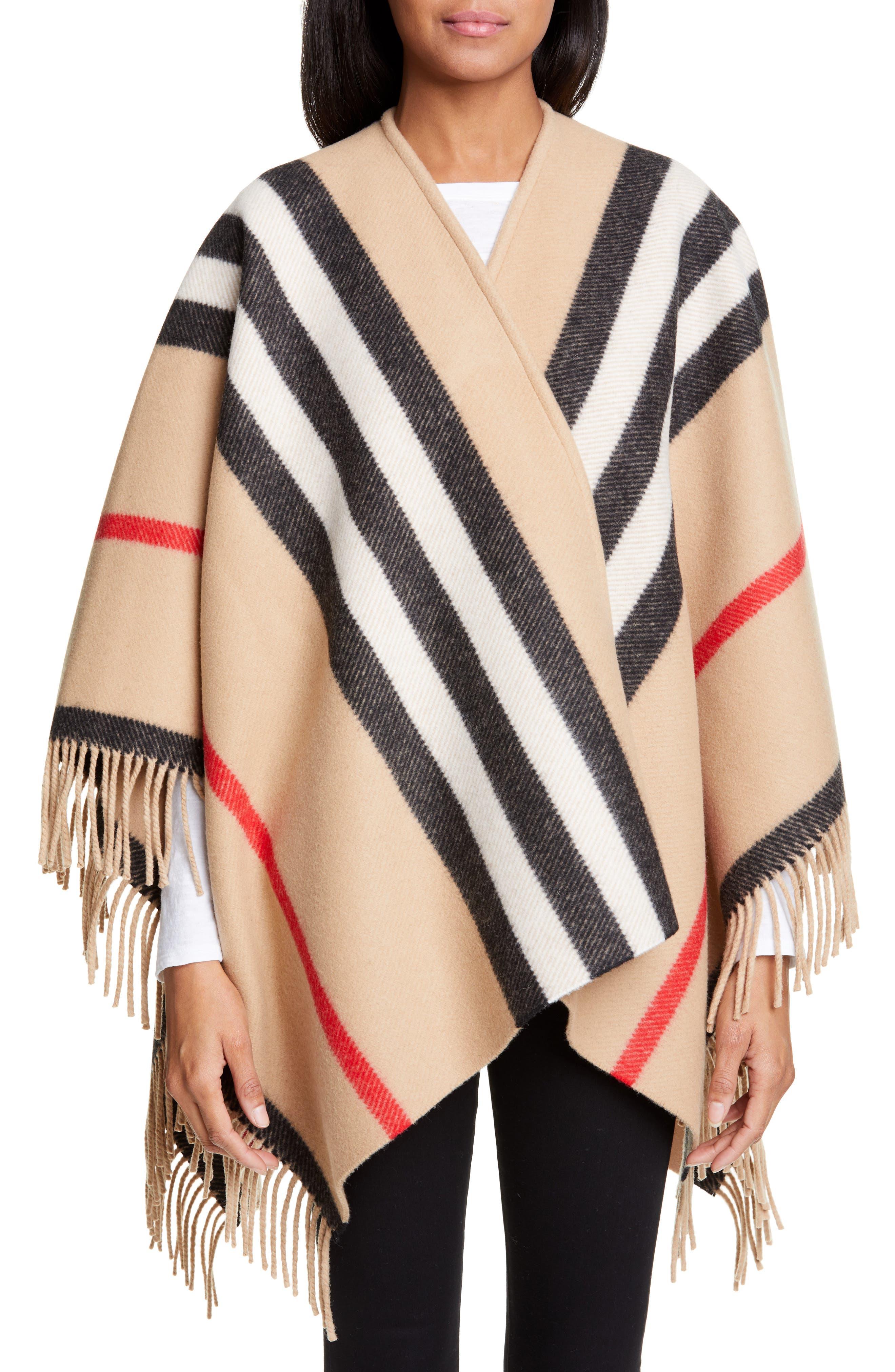 BURBERRY, Stripe Fringe Wool Cape, Alternate thumbnail 7, color, CAMEL