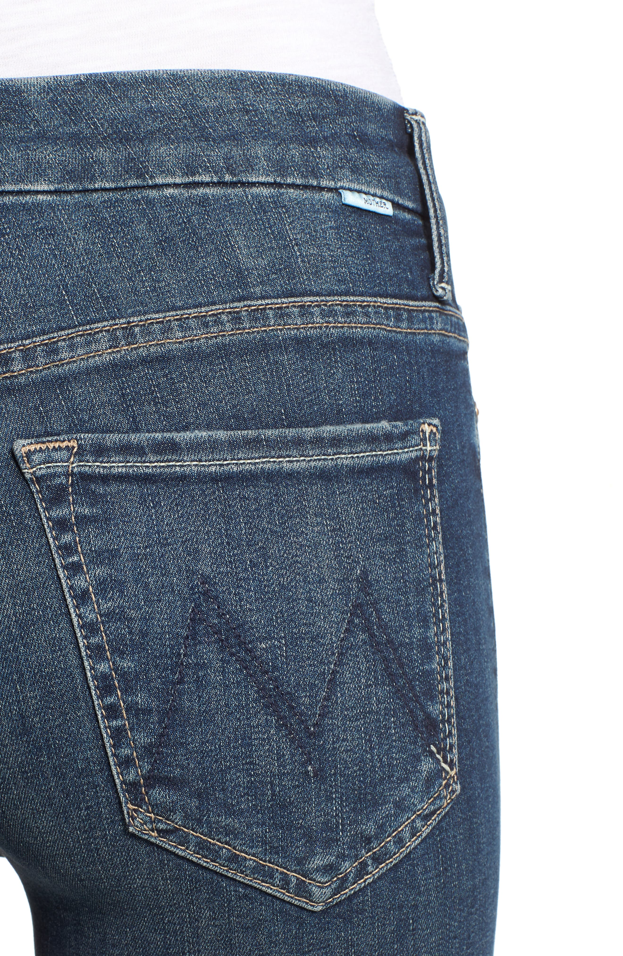 MOTHER, The Looker High Waist Frayed Ankle Skinny Jeans, Alternate thumbnail 5, color, CLOSE TO THE EDGE