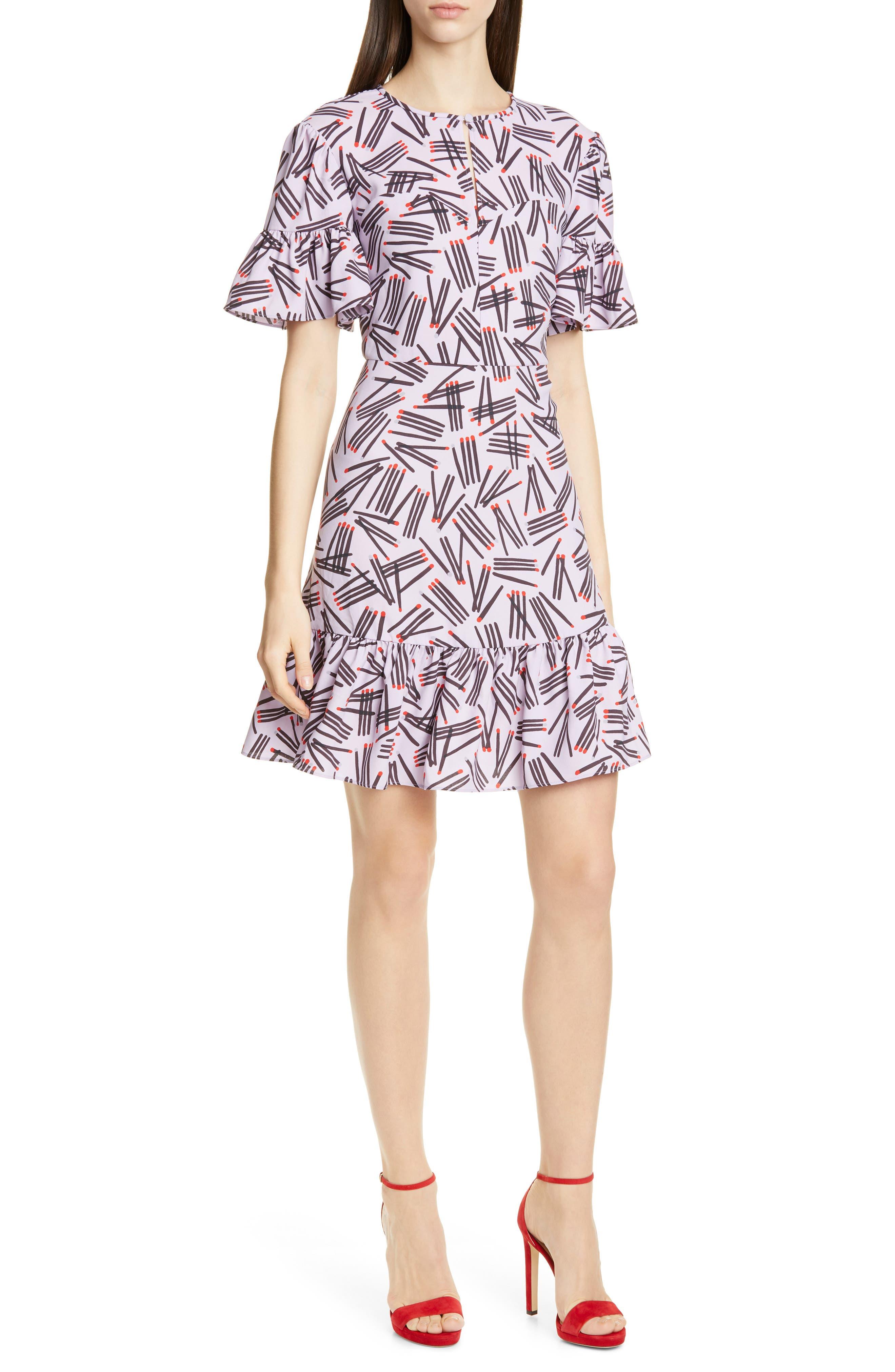 Kate Spade New York Matches Print Ruffle Trim Dress, Purple