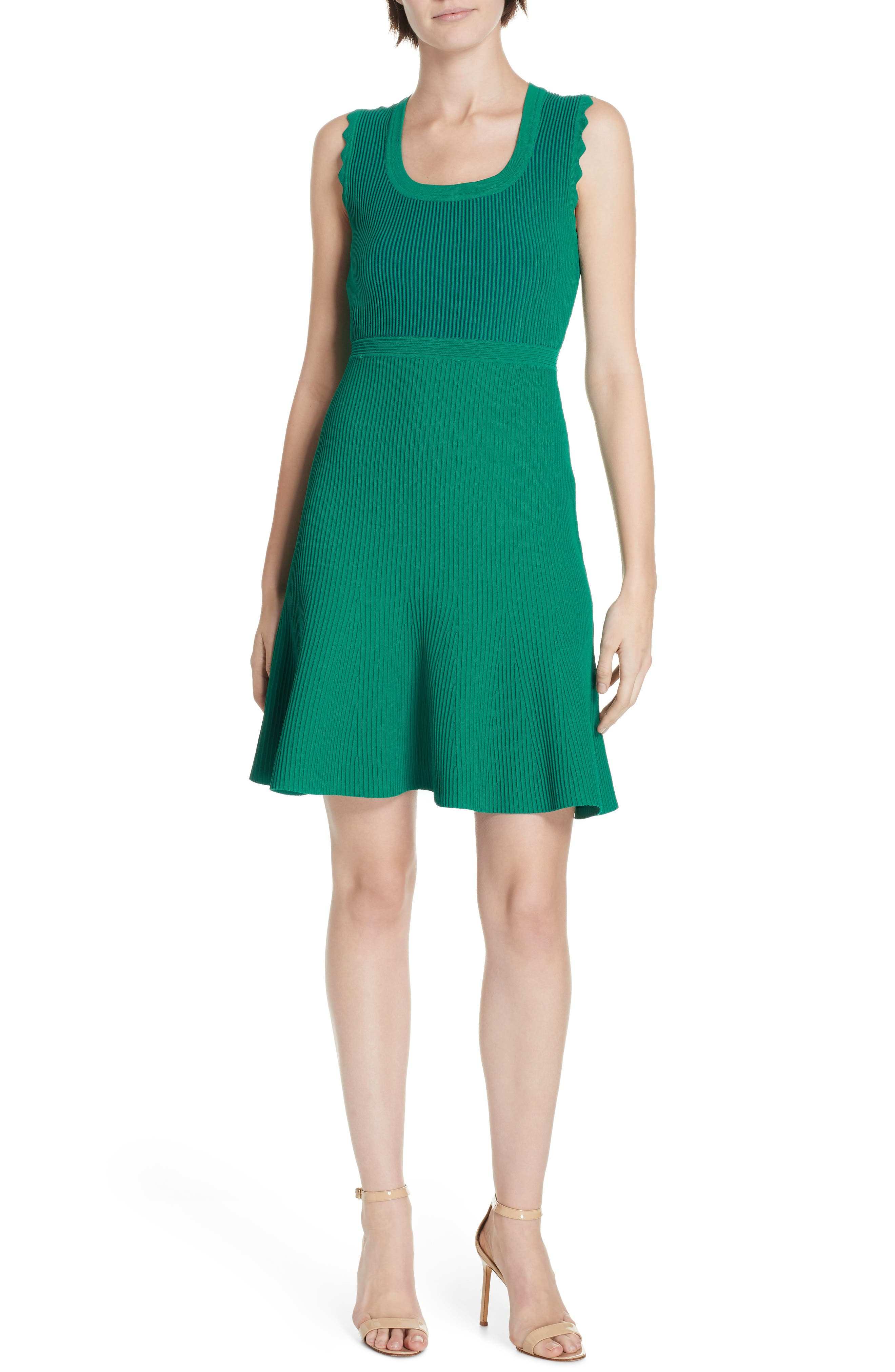 DVF, Adi Ribbed Knit Dress, Main thumbnail 1, color, EMERALD/ AVALON TEAL