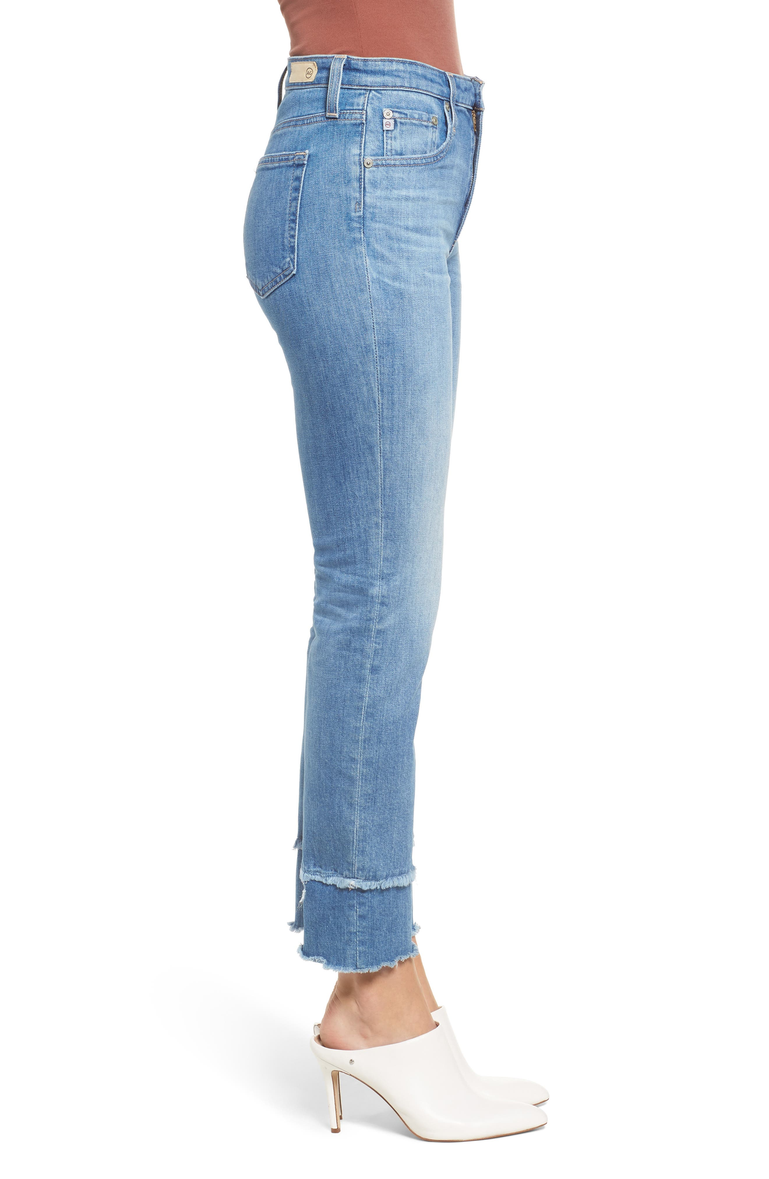 AG, The Isabelle High Waist Straight Leg Jeans, Alternate thumbnail 4, color, 13Y AWESTRUCK