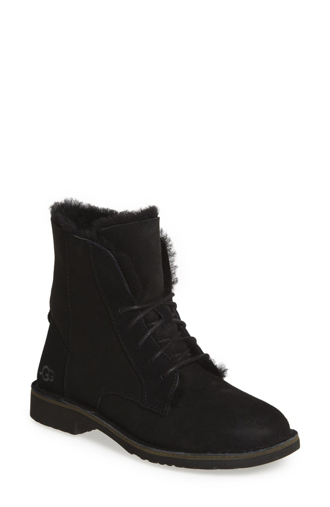 UGG<SUP>®</SUP>, Quincy Boot, Main thumbnail 1, color, BLACK SUEDE
