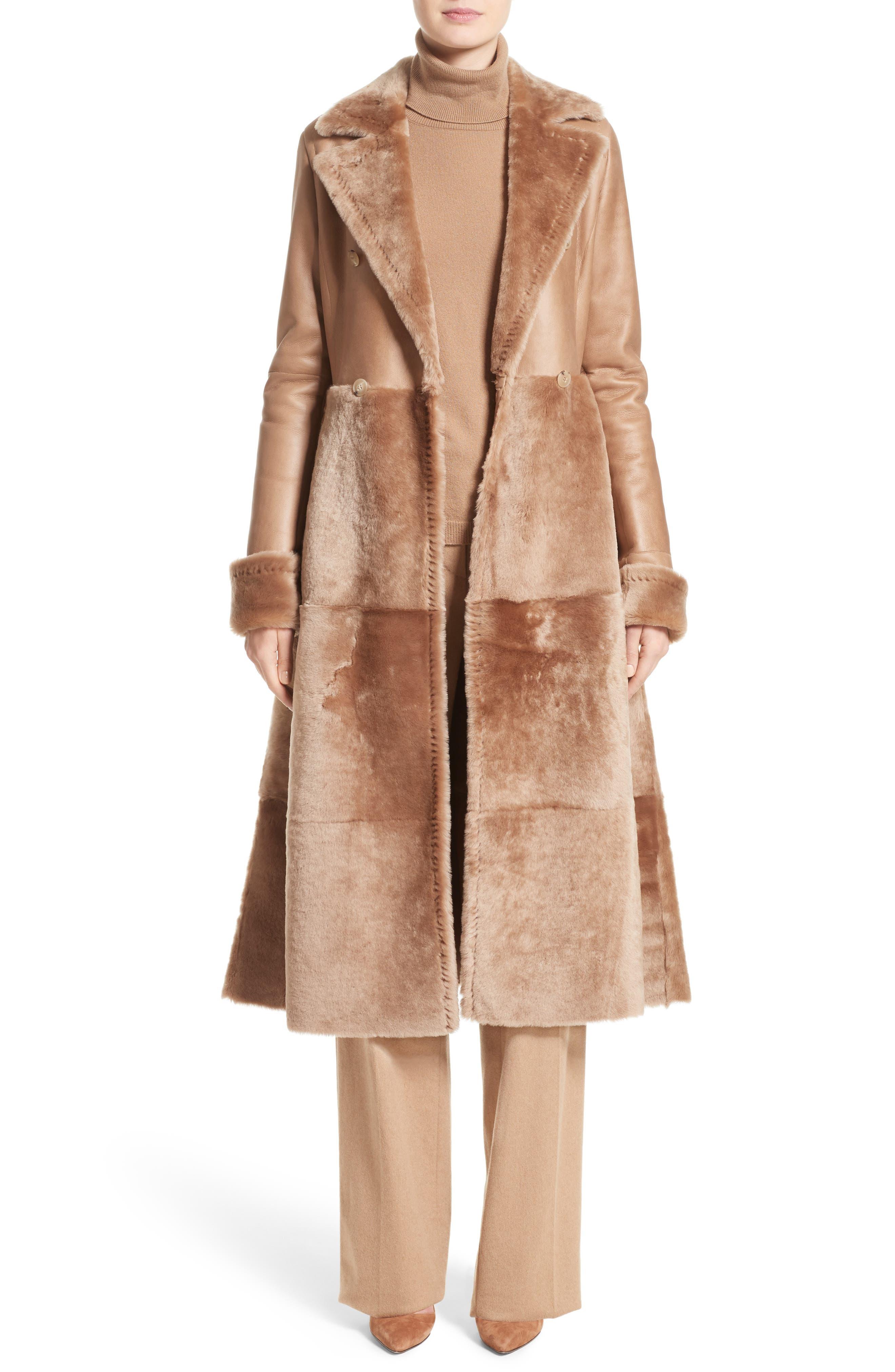 MAX MARA, Rimini Genuine Shearling Coat, Alternate thumbnail 7, color, CAMEL
