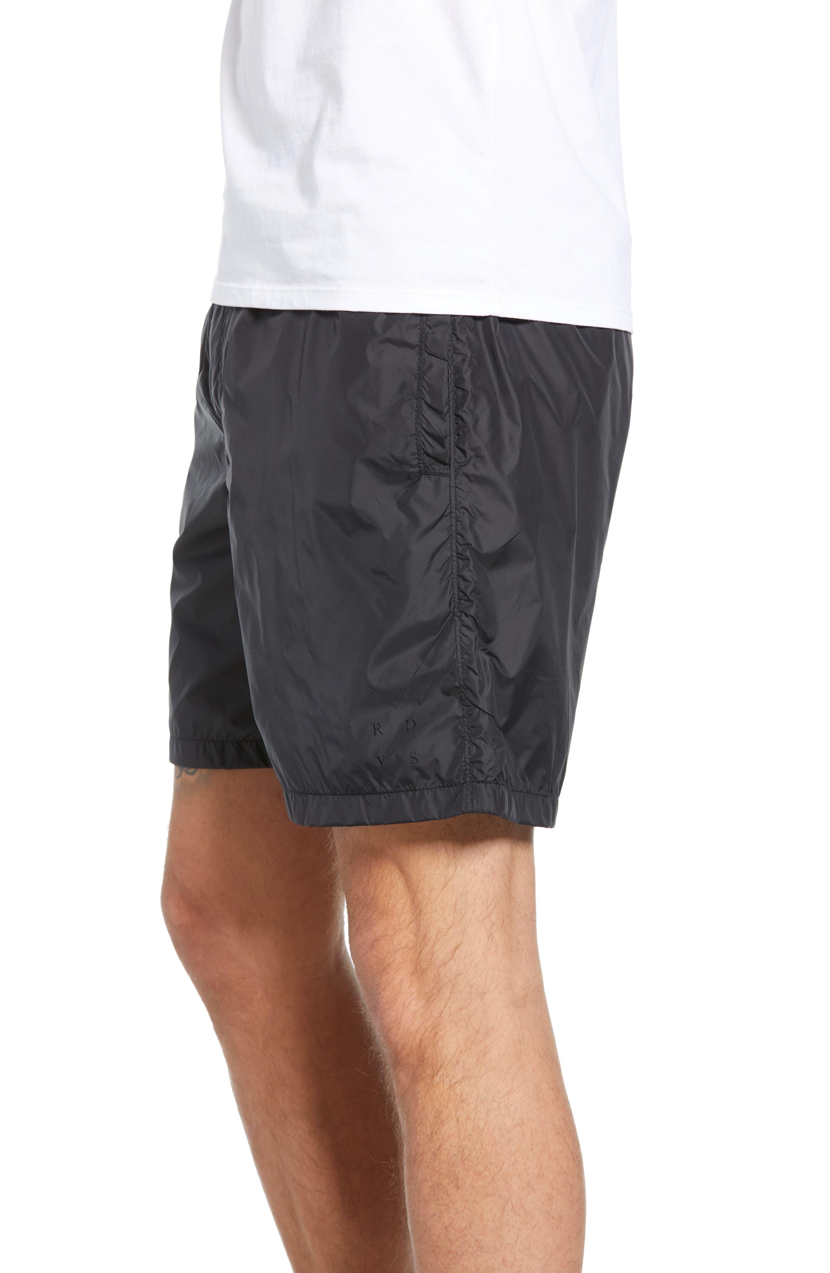SATURDAYS NYC, Trent Hybrid Athletic Shorts, Alternate thumbnail 3, color, BLACK