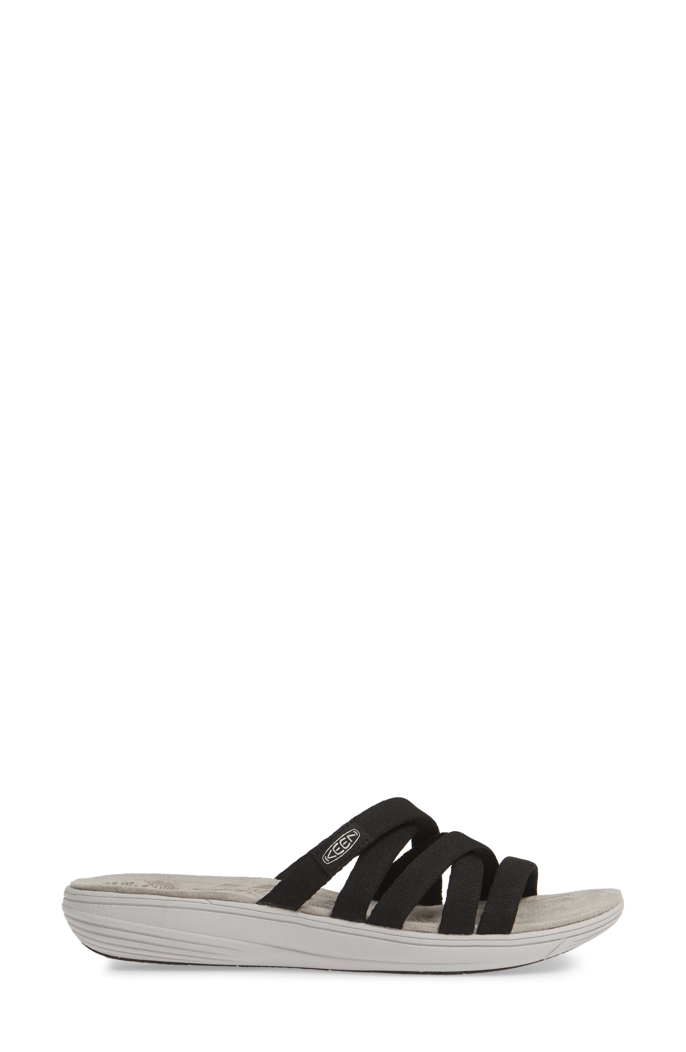 KEEN, Damaya Slide Sandal, Alternate thumbnail 3, color, BLACK/ VAPOR BLUE FABRIC