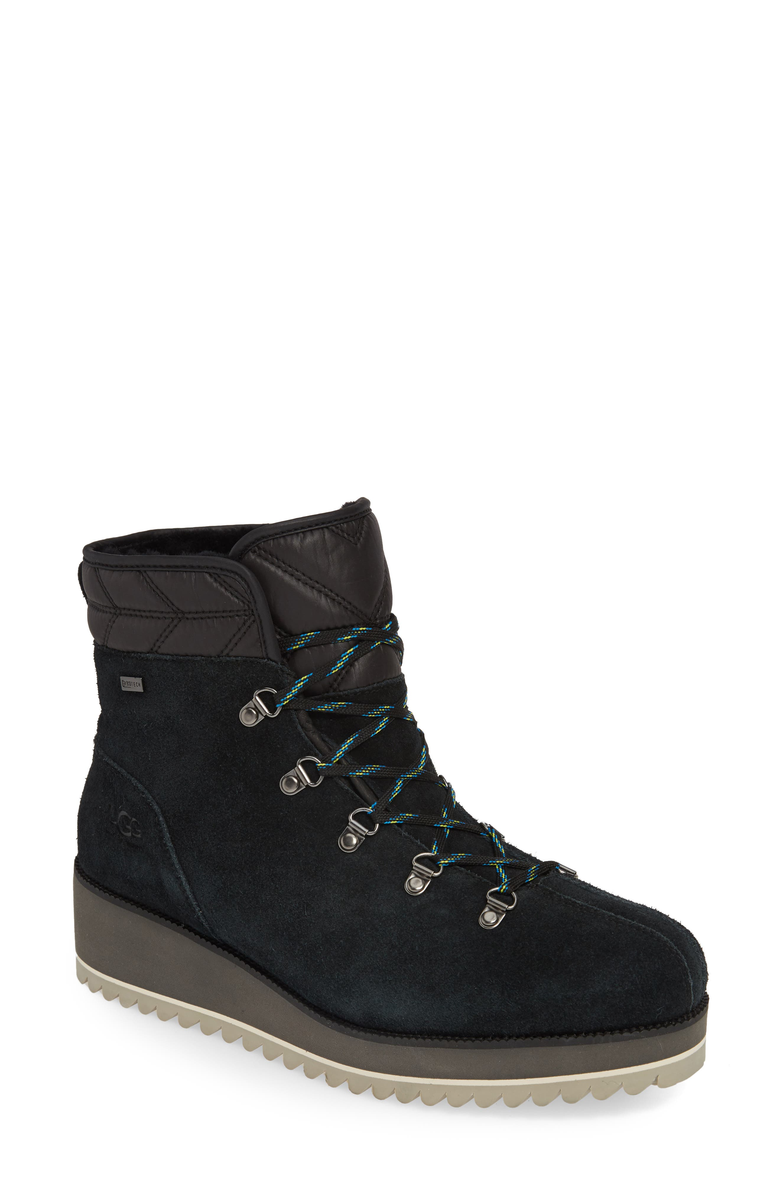 UGG<SUP>®</SUP>, Birch Waterproof Lace-Up Winter Bootie, Main thumbnail 1, color, BLACK