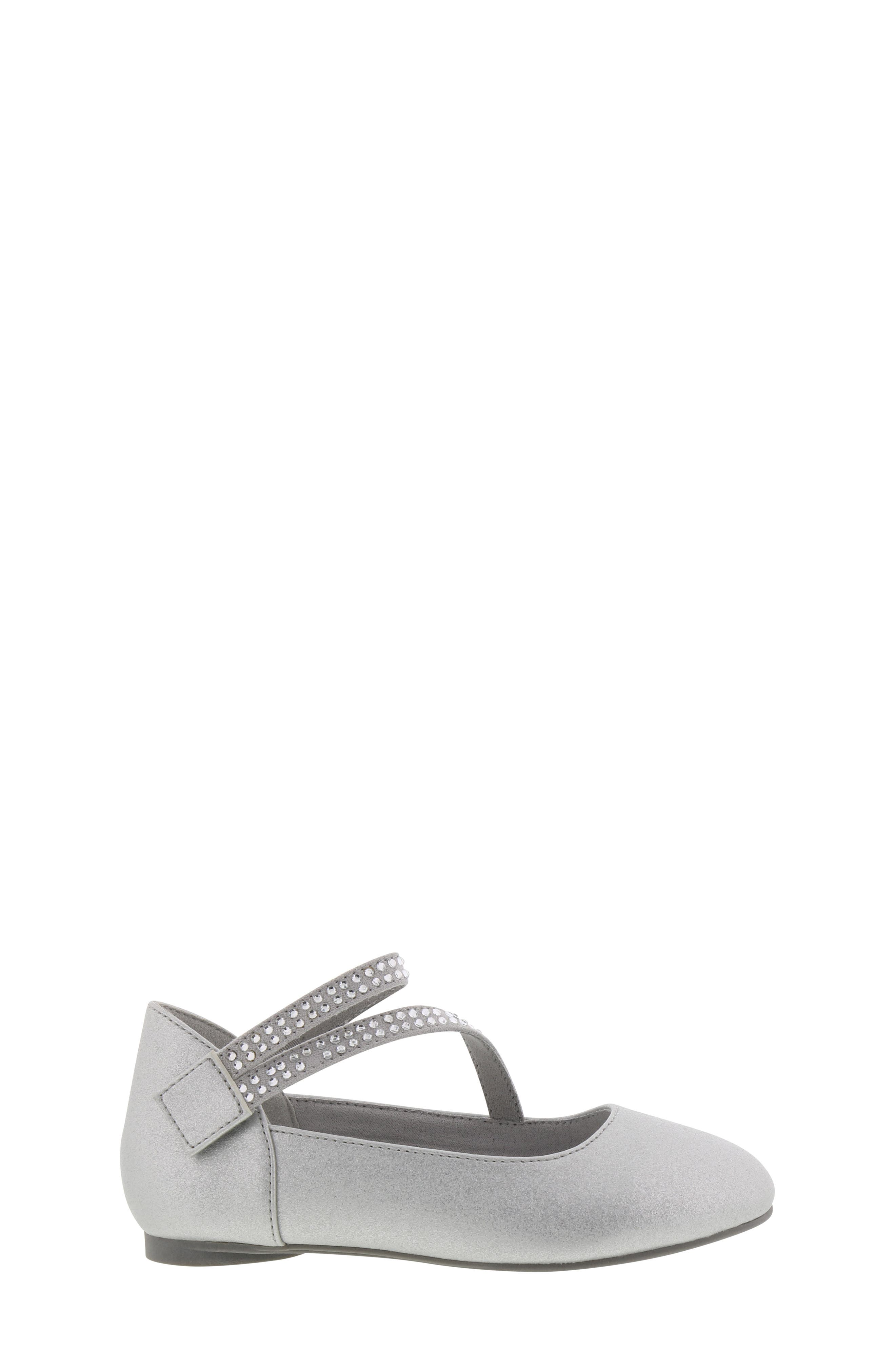 REACTION KENNETH COLE, Tap Lily-T Embellished Flat, Alternate thumbnail 3, color, SILVER