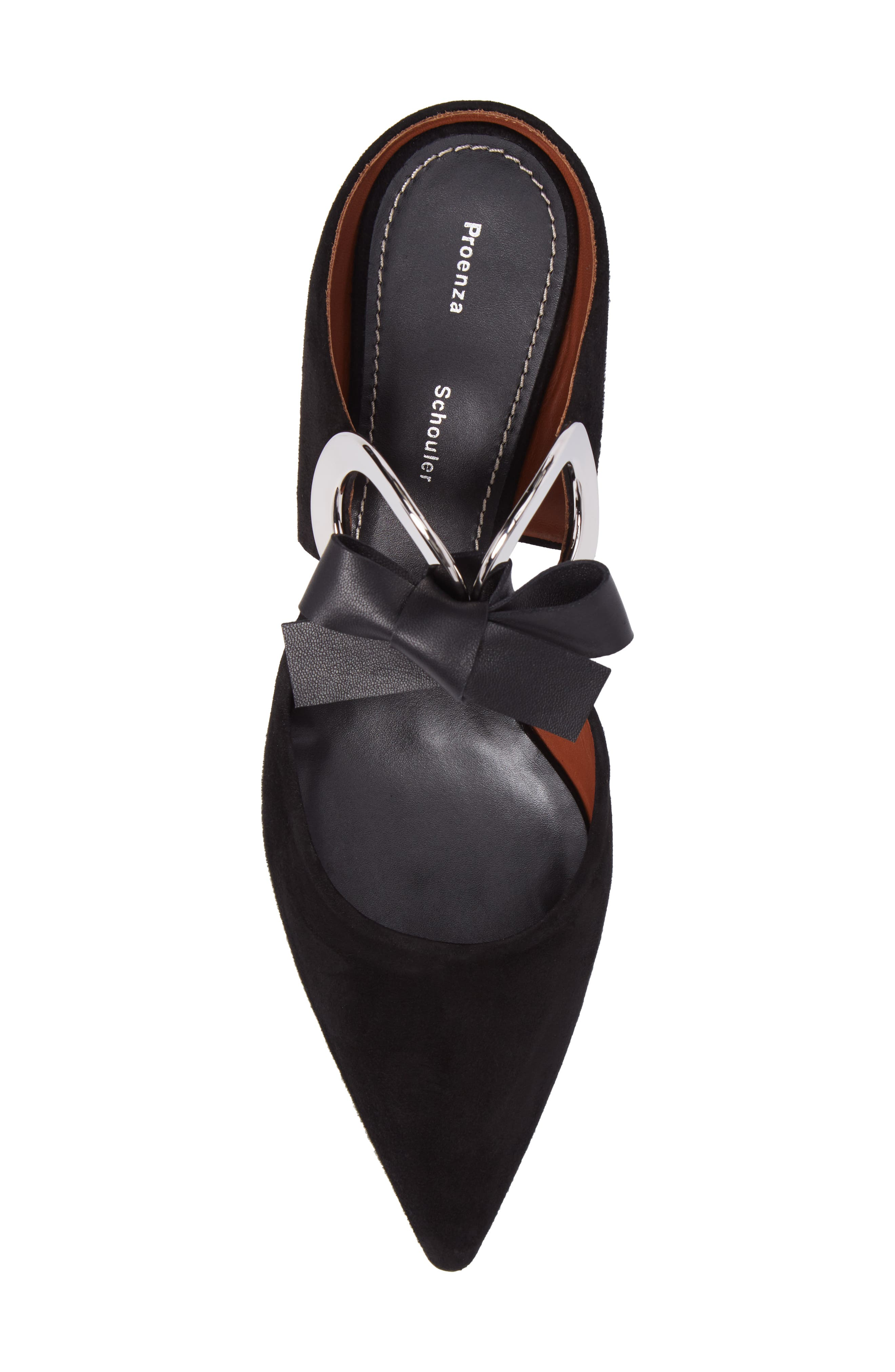 PROENZA SCHOULER, Ring Tie Pointy Toe Pump, Alternate thumbnail 5, color, BLACK SUEDE