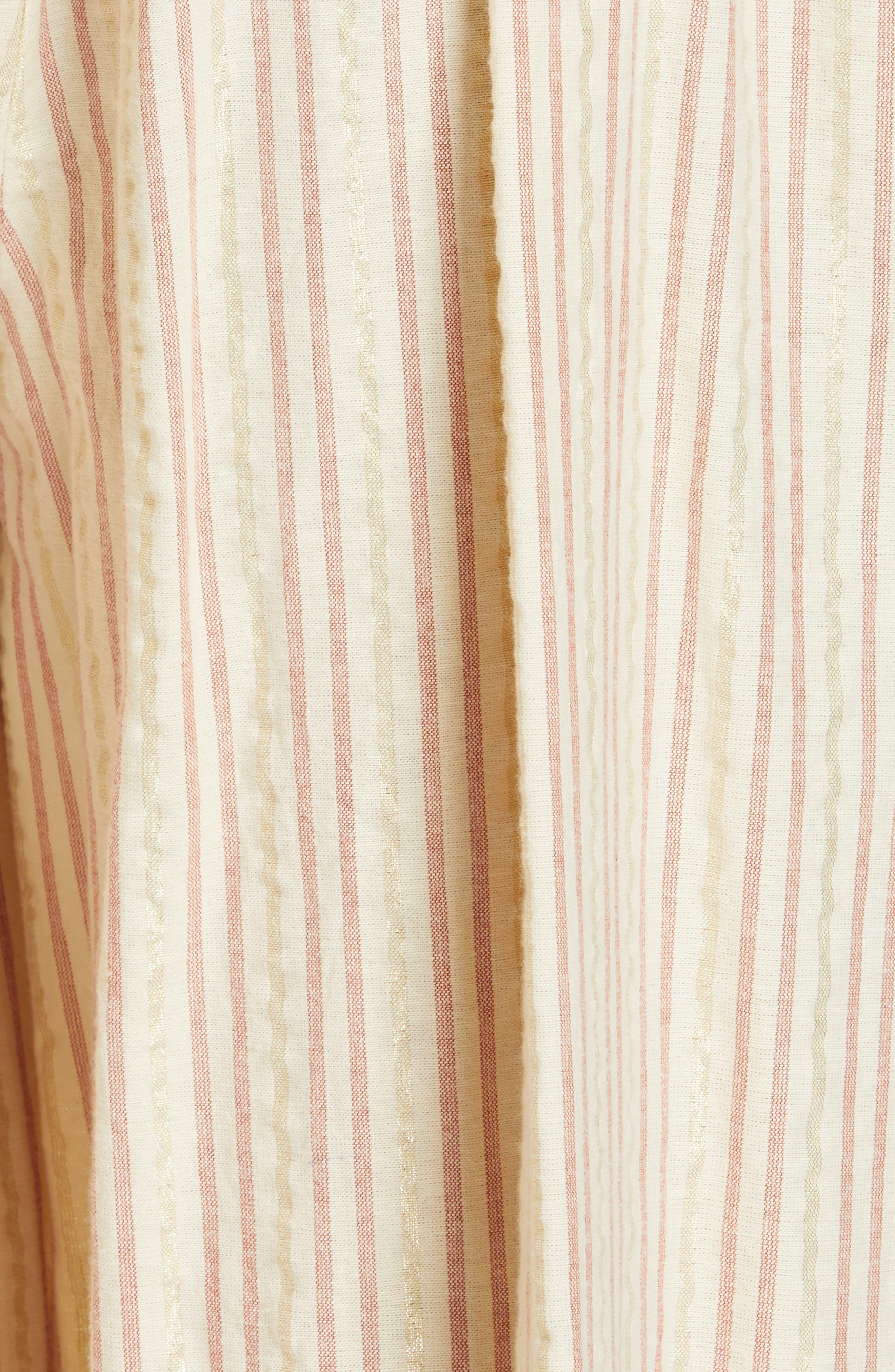 ULLA JOHNSON, Simka Metallic Stripe Ruffle Trim Jumpsuit, Alternate thumbnail 6, color, NATURAL